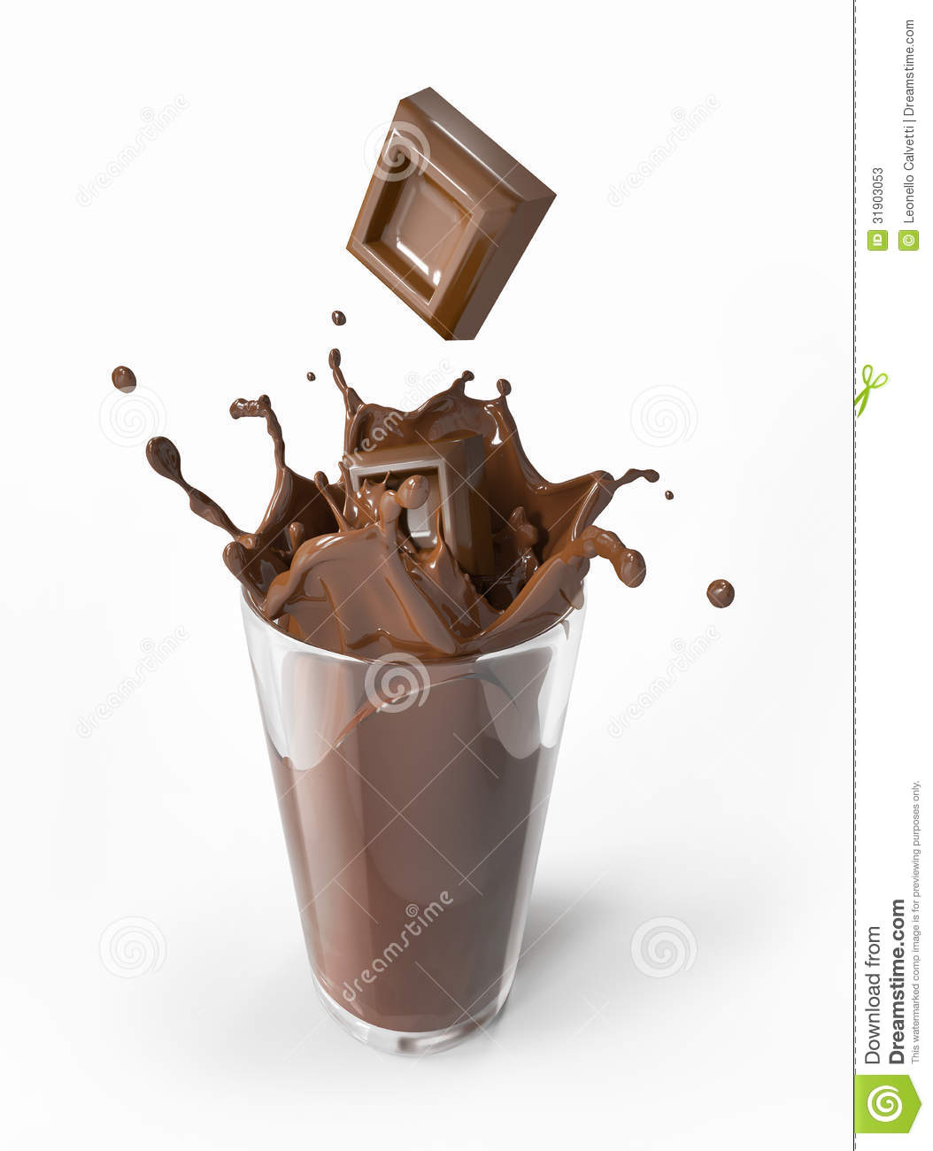 Chocolate Blocks Falling Into A Glass Splashing. Stock Photos - Image ...