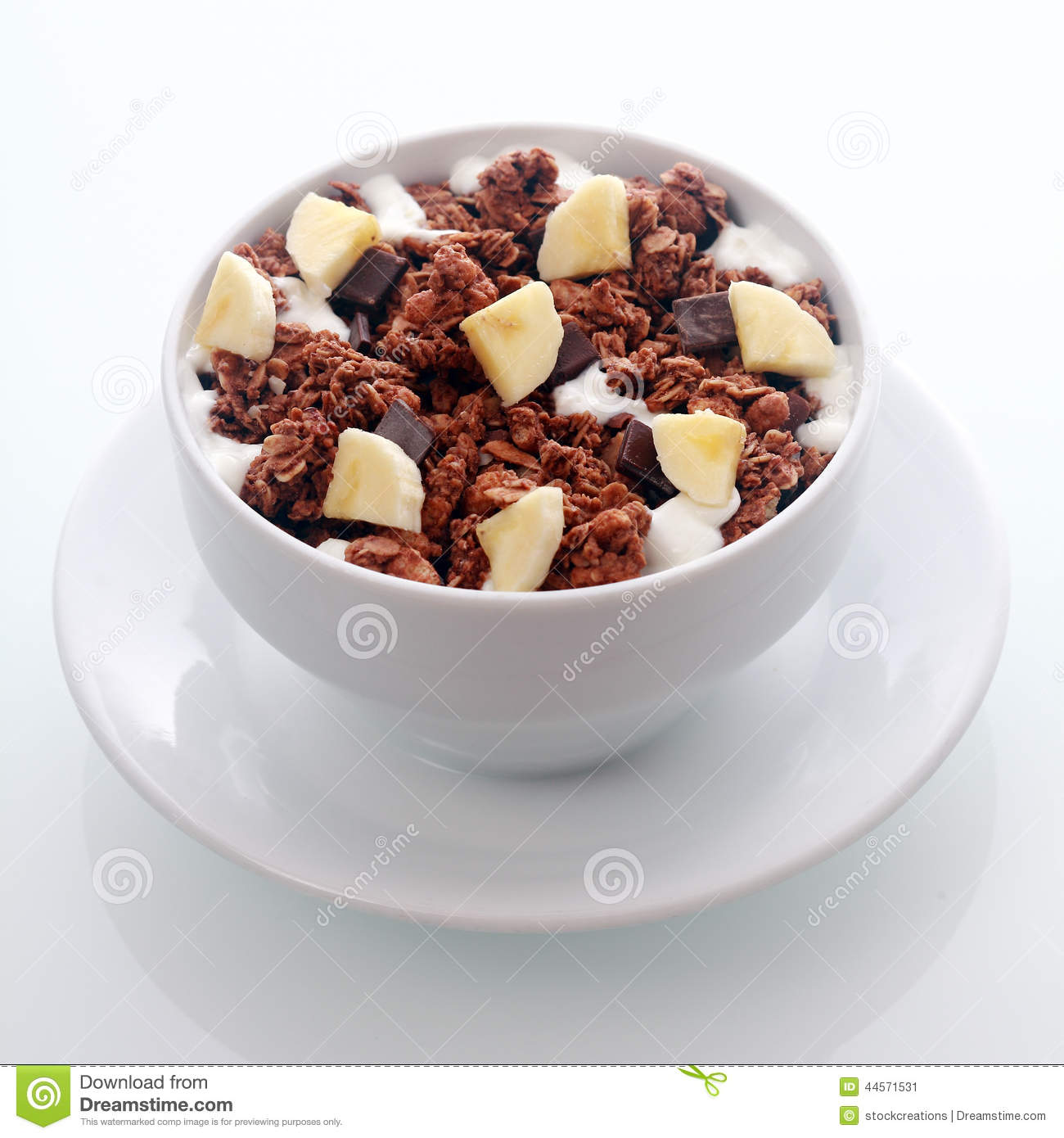 Chocolate Breakfast Cereal With Diced Fresh Banana Stock