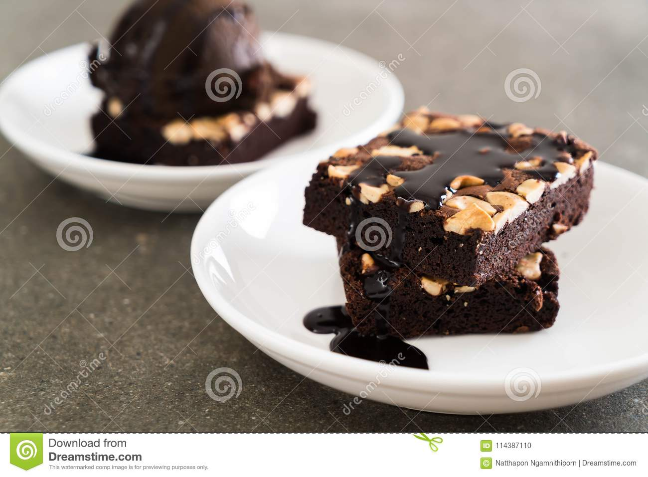 Chocolate Brownies With Chocolate Sauce Stock Photo Image Of