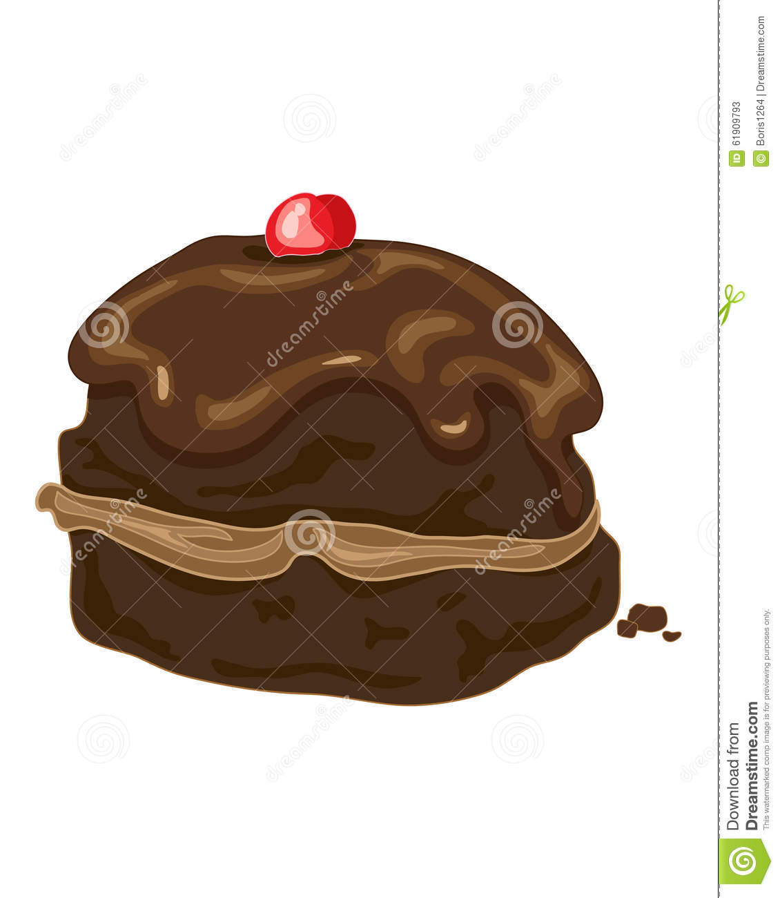 Chocolate bun stock vector image 61909793 for Glace decoration