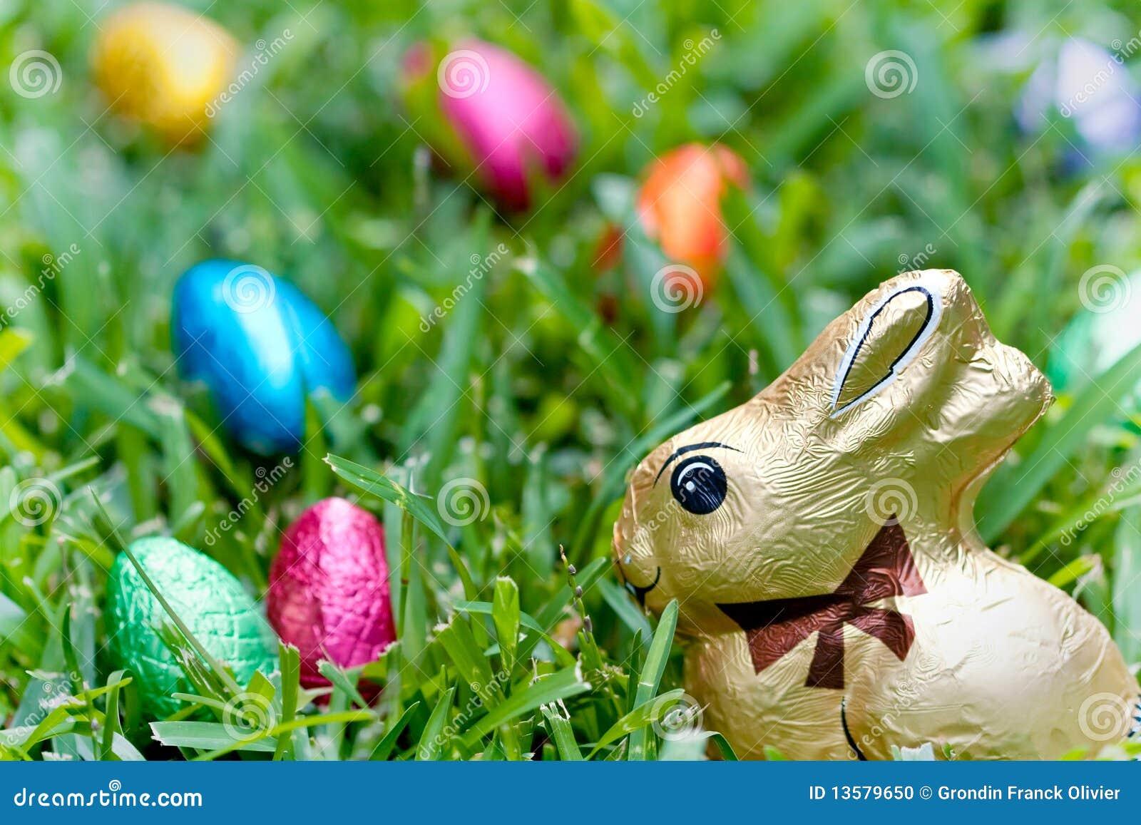 Chocolate bunny and eggs