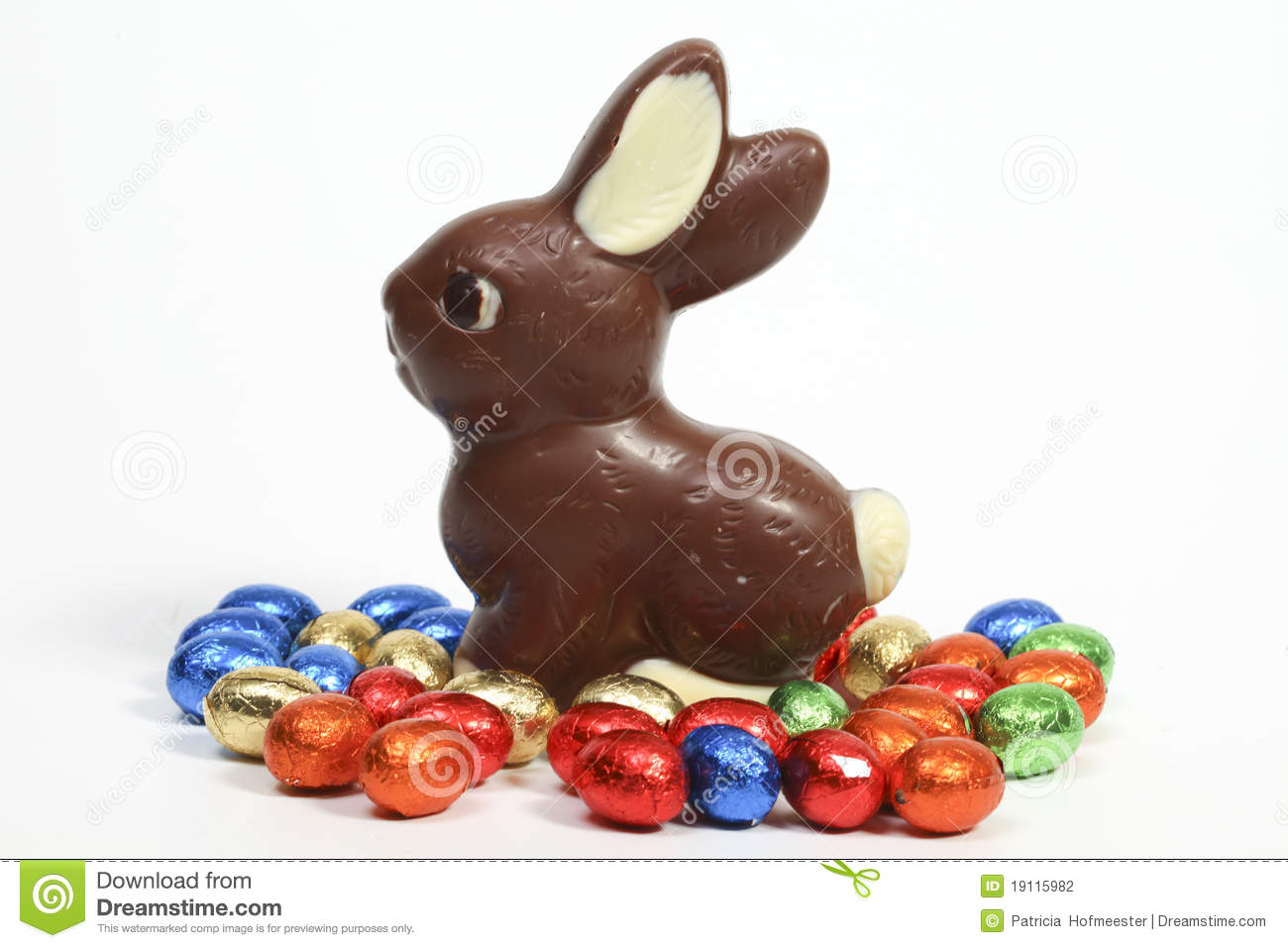 Chocolate Bunny With Eggs Stock Photo Image Of Spring
