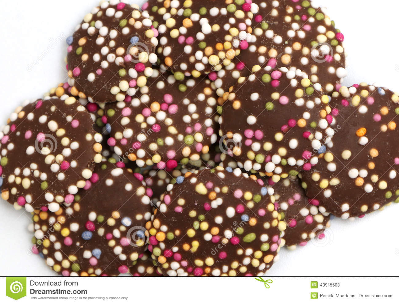 Chocolate Buttons With Sprinkles Stock Photo Image 43915603