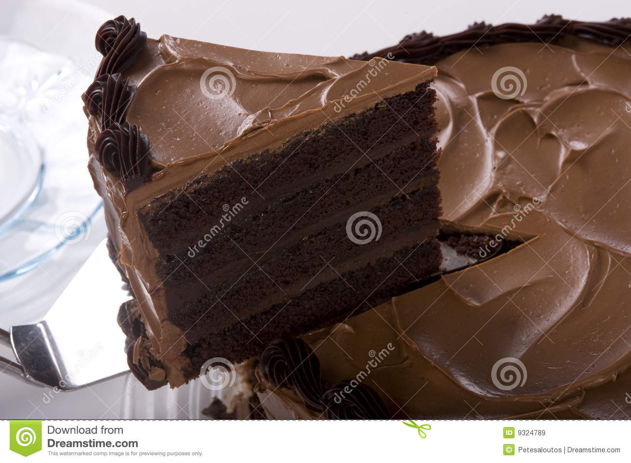 Chocolate Cake being sliced