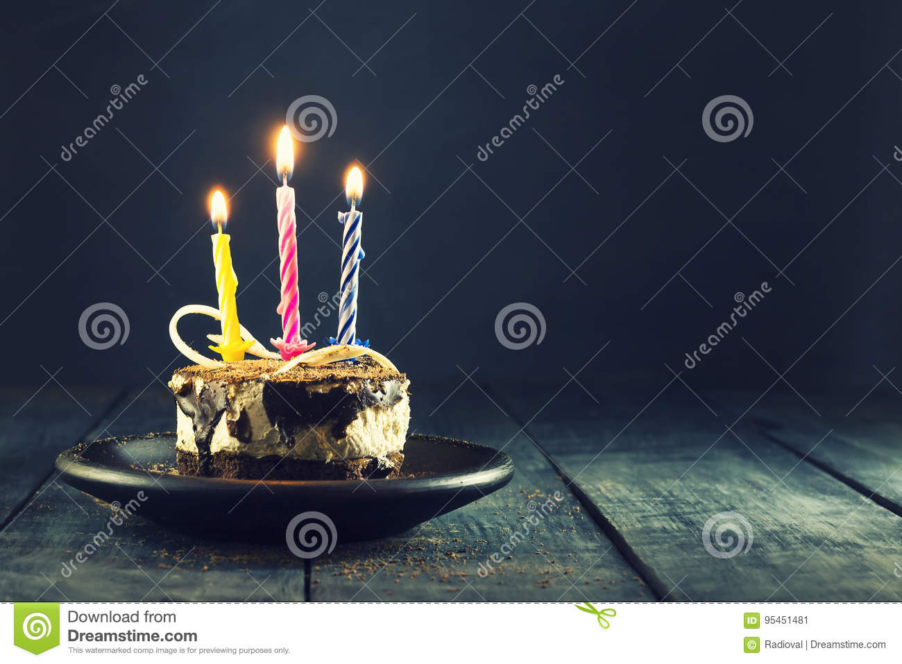Chocolate cake with a candle and gifts.Happy Birthday, card. Holidays greeting card.