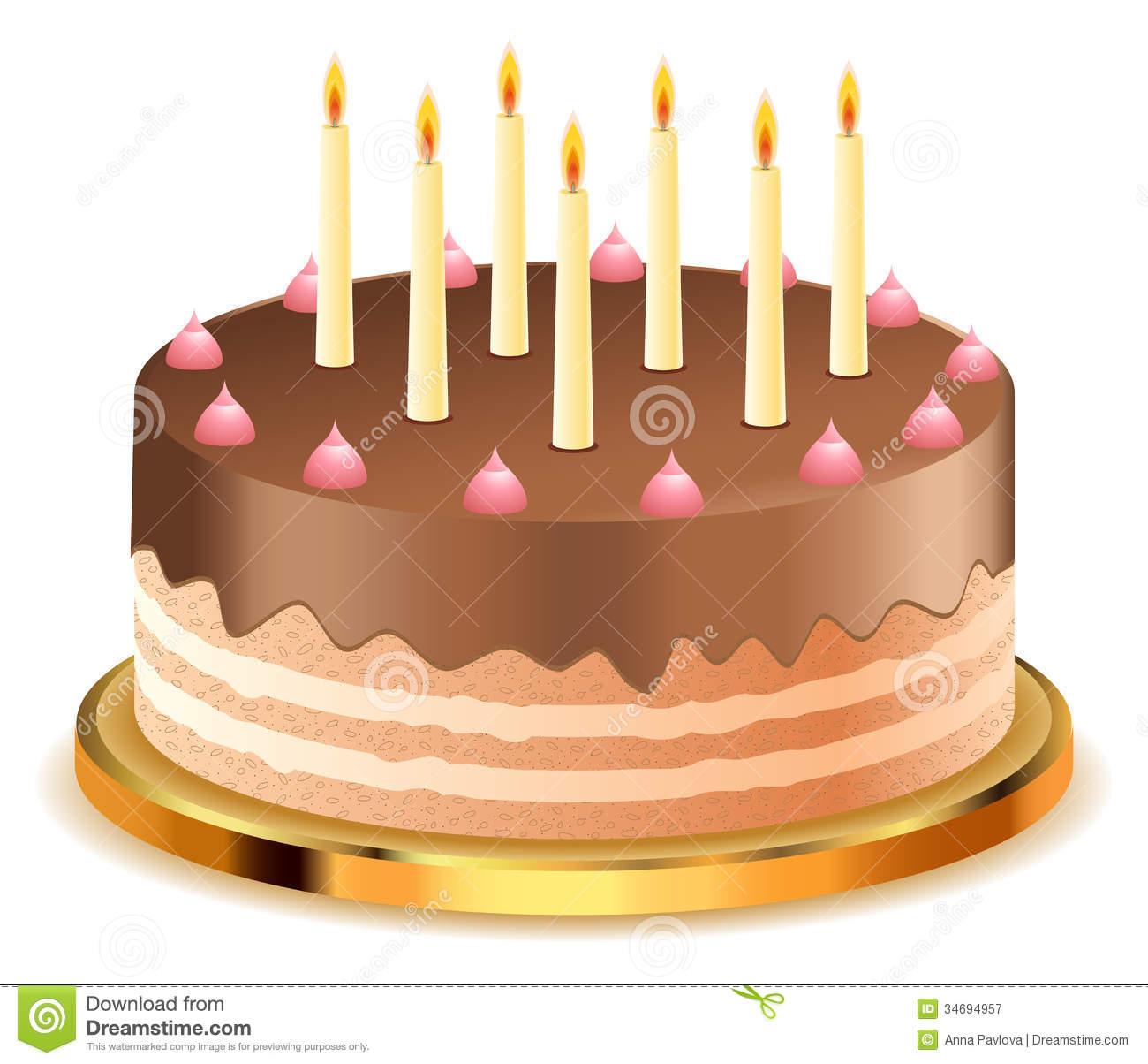 Chocolate Cake With Candles Royalty Free Stock Photography