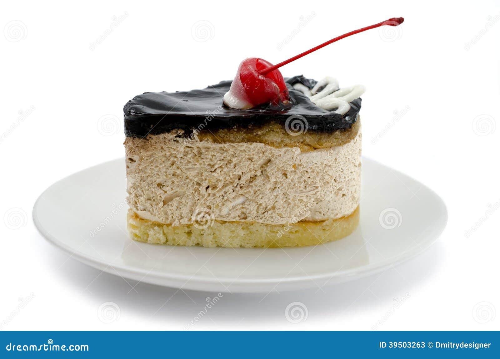 Chocolate cake with cherries close-up