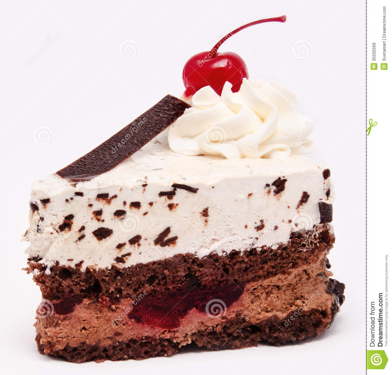 Cake With Icing On Top : Chocolate Cake With Cherry On The Top Icing Isolated Royalty Free Stock Images - Image: 35505569
