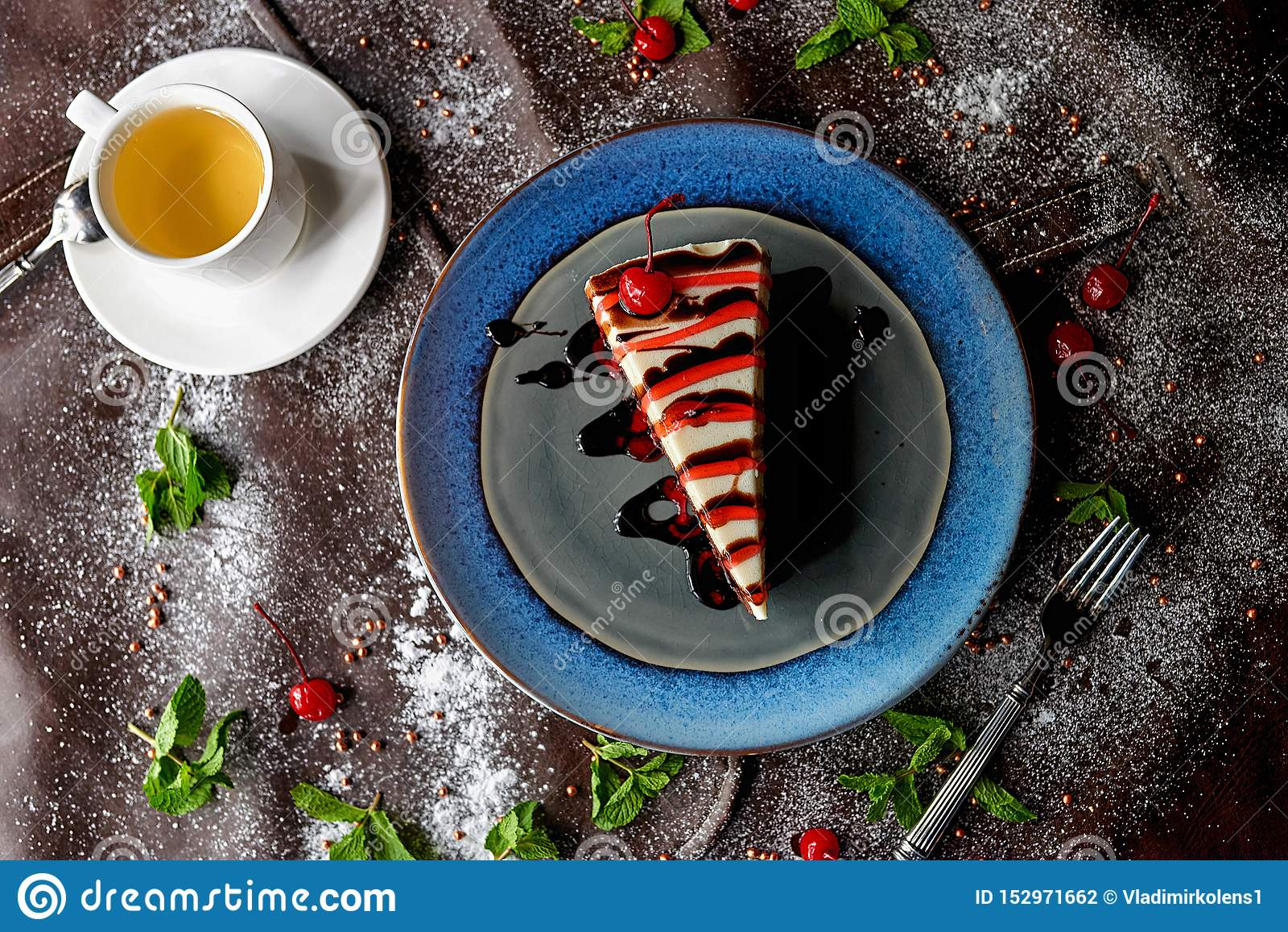Chocolate cake in powdered sugar