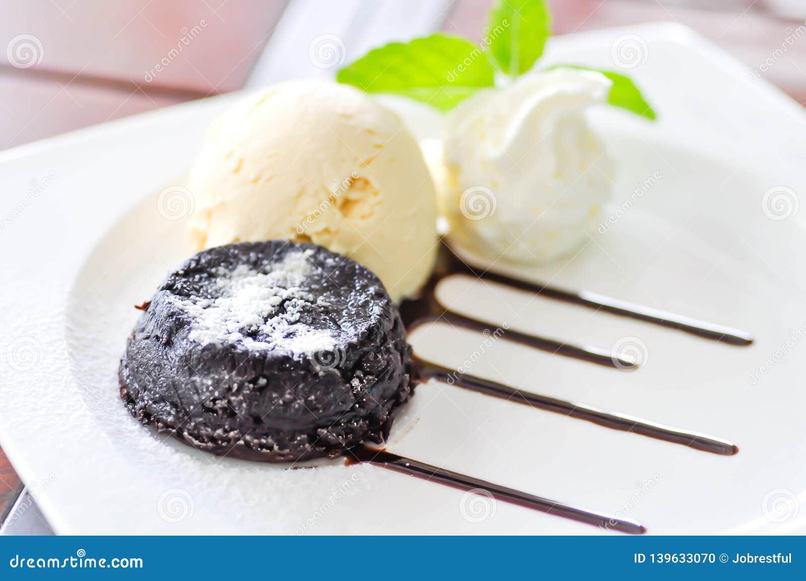 Chocolate cake or chocolate lava cake with ice cream