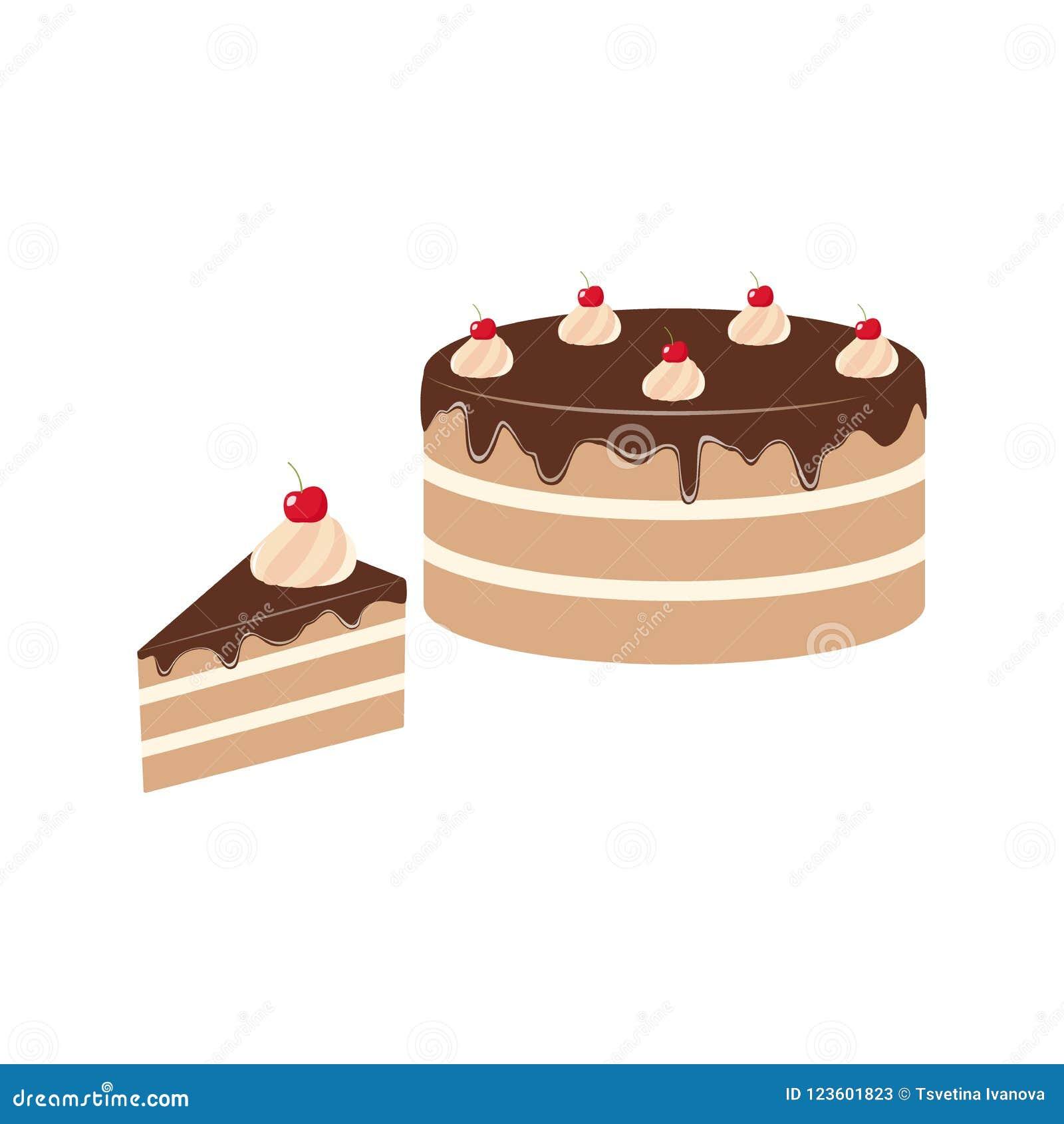 Chocolate Cake Clipart Cartoon Chocolate Cake And A Piece Of Cake