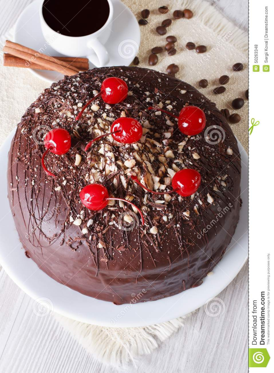 Chocolate Cake And Coffee Vertical Top View Stock Photo ...