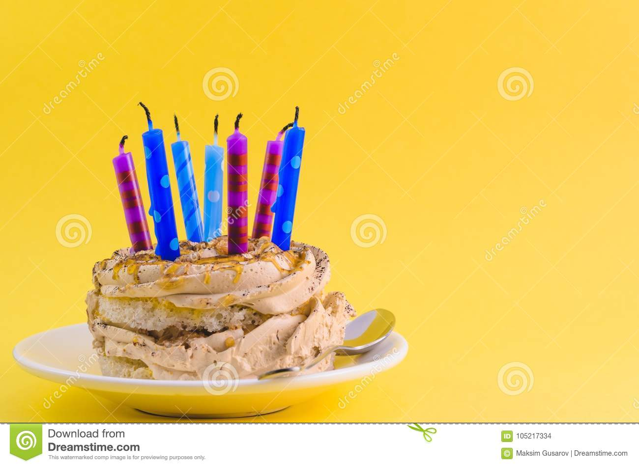 Remarkable Chocolate Cake With Cream And Lots Of Candles Stock Photo Image Funny Birthday Cards Online Hendilapandamsfinfo