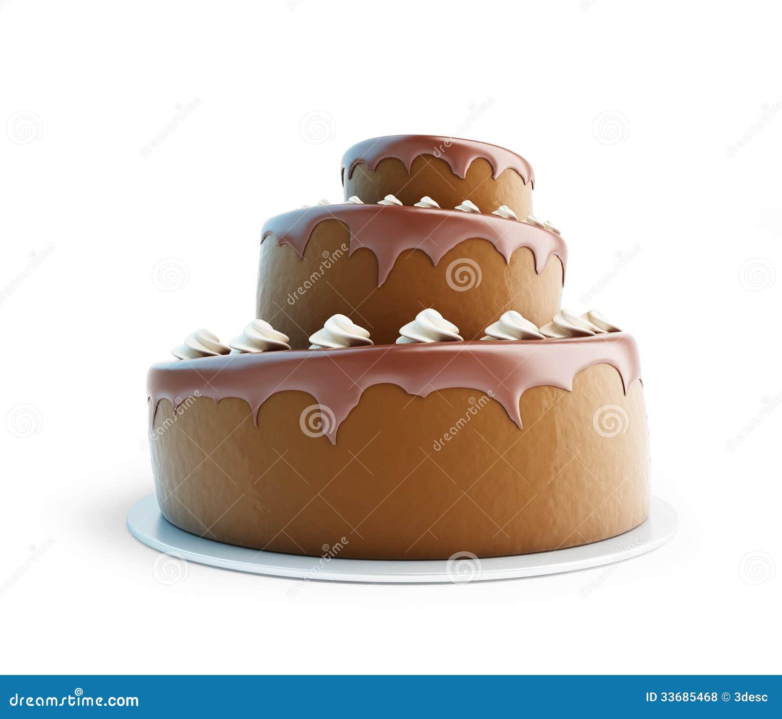 Chocolate cake 3d stock illustration. Image of close ...