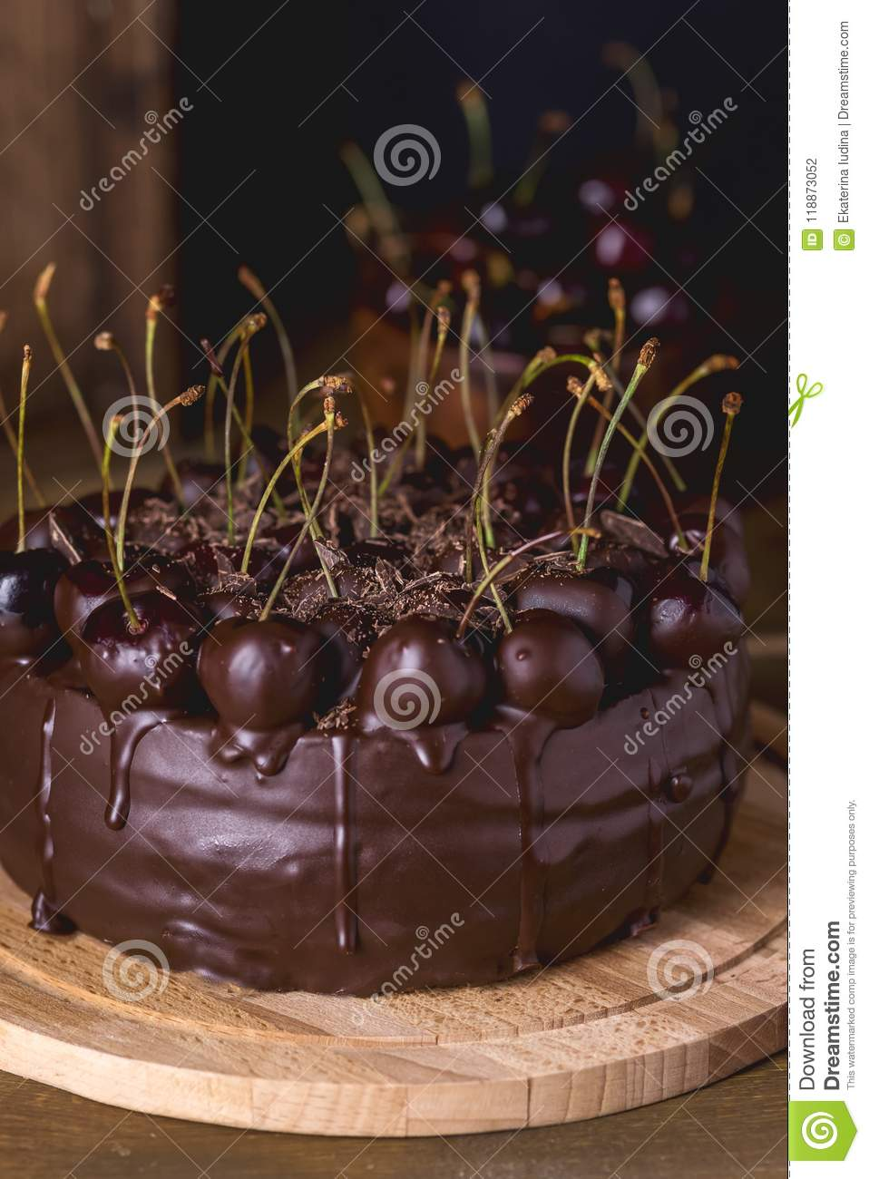 Chocolate Cake Decorated With Cherries With Chocolate Vertical