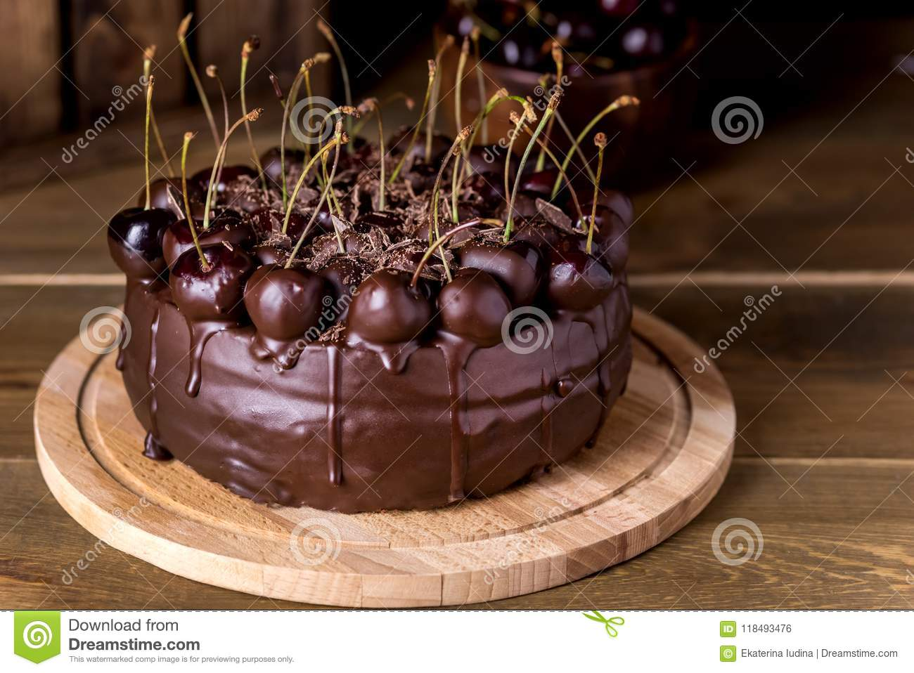 Chocolate Cake Decorated With Cherries With Chocolate Horizontal