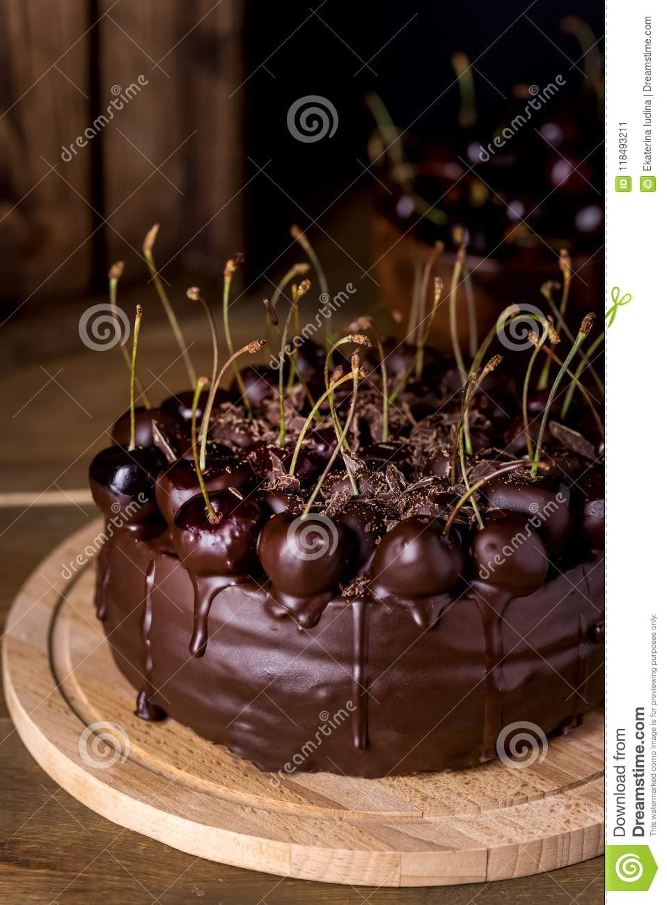 Chocolate Cake Decorated With Cherries With Chocolate Vertical Rustic Dark Photo Tasty And Beautiful Cake Stock Image Image Of Birthday Gourmet 118493211