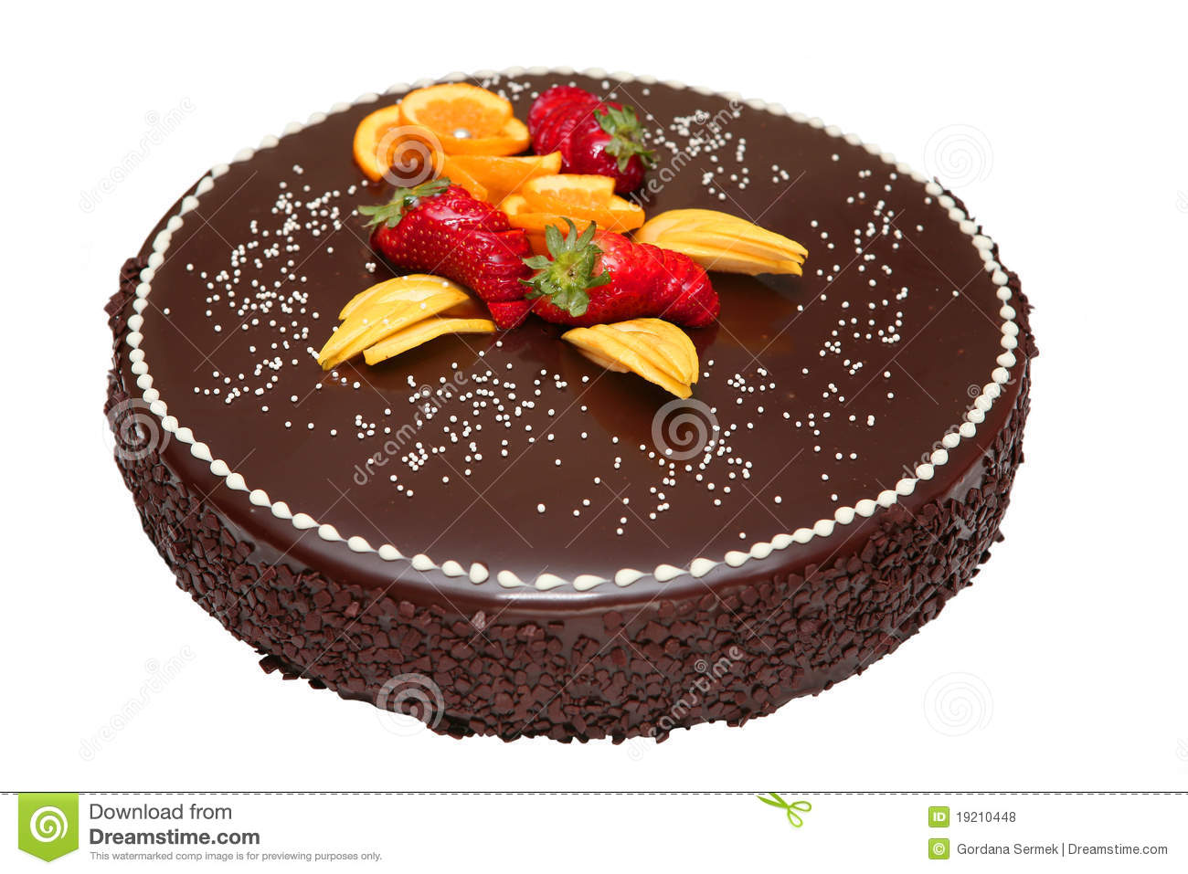 Fruit Chocolate Cake Images : Chocolate Cake Decorated With Fruit Royalty Free Stock ...