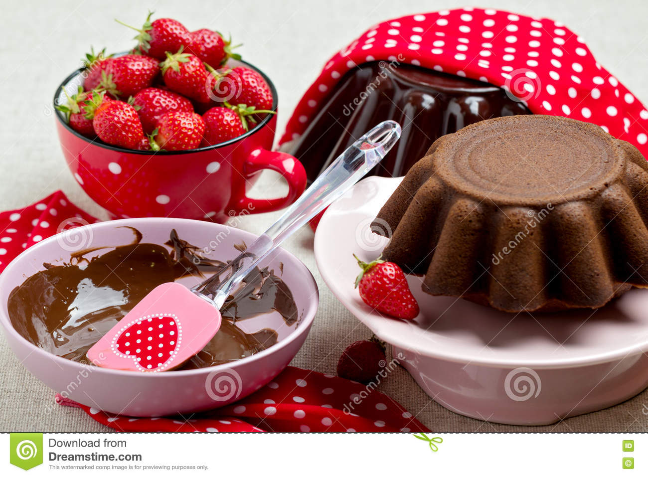 Cake Decorating Stock Images : Chocolate Cake. Decorating With Chocolate Icing And ...