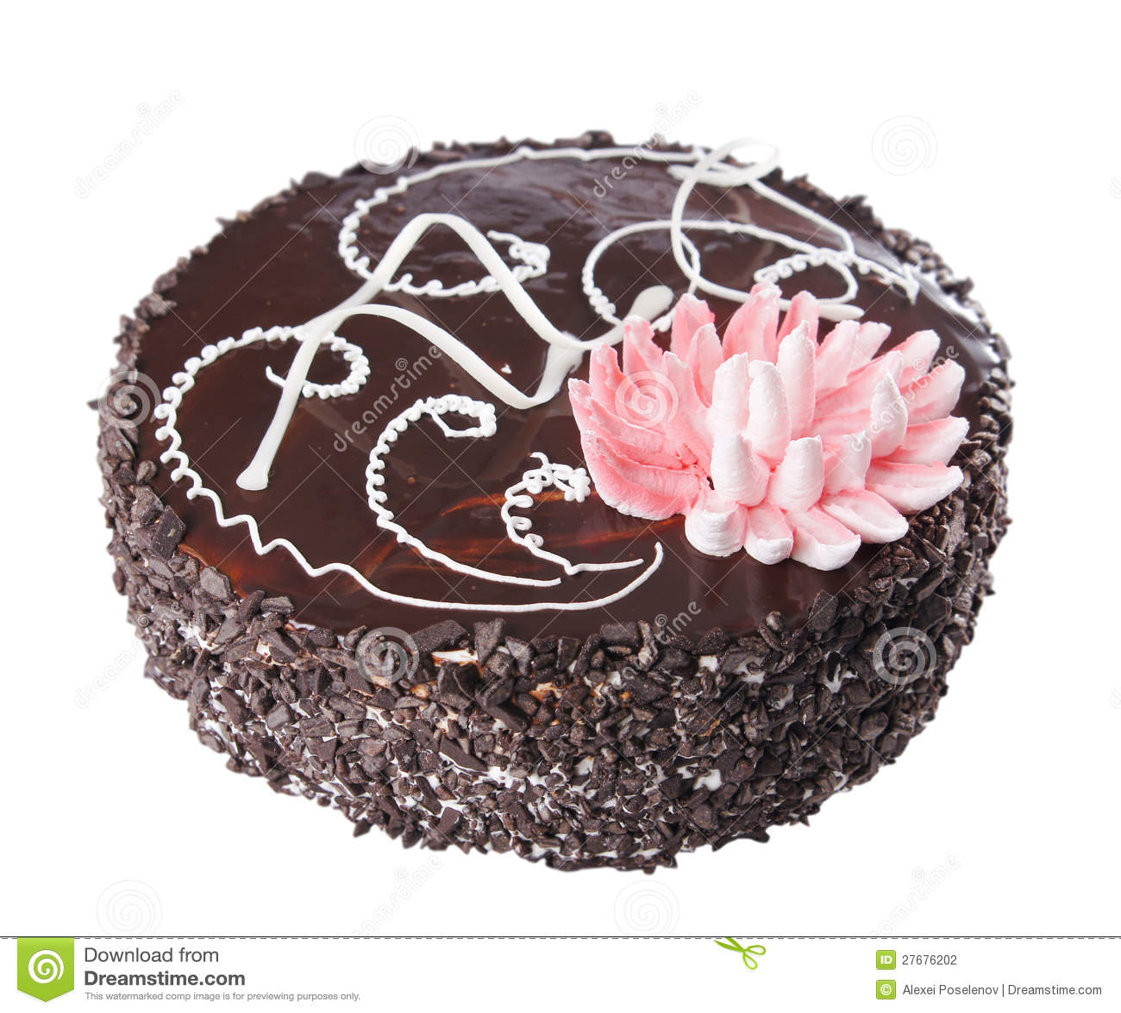 Chocolate Cake With Decorative Lotus Flower Stock Photo Image Of