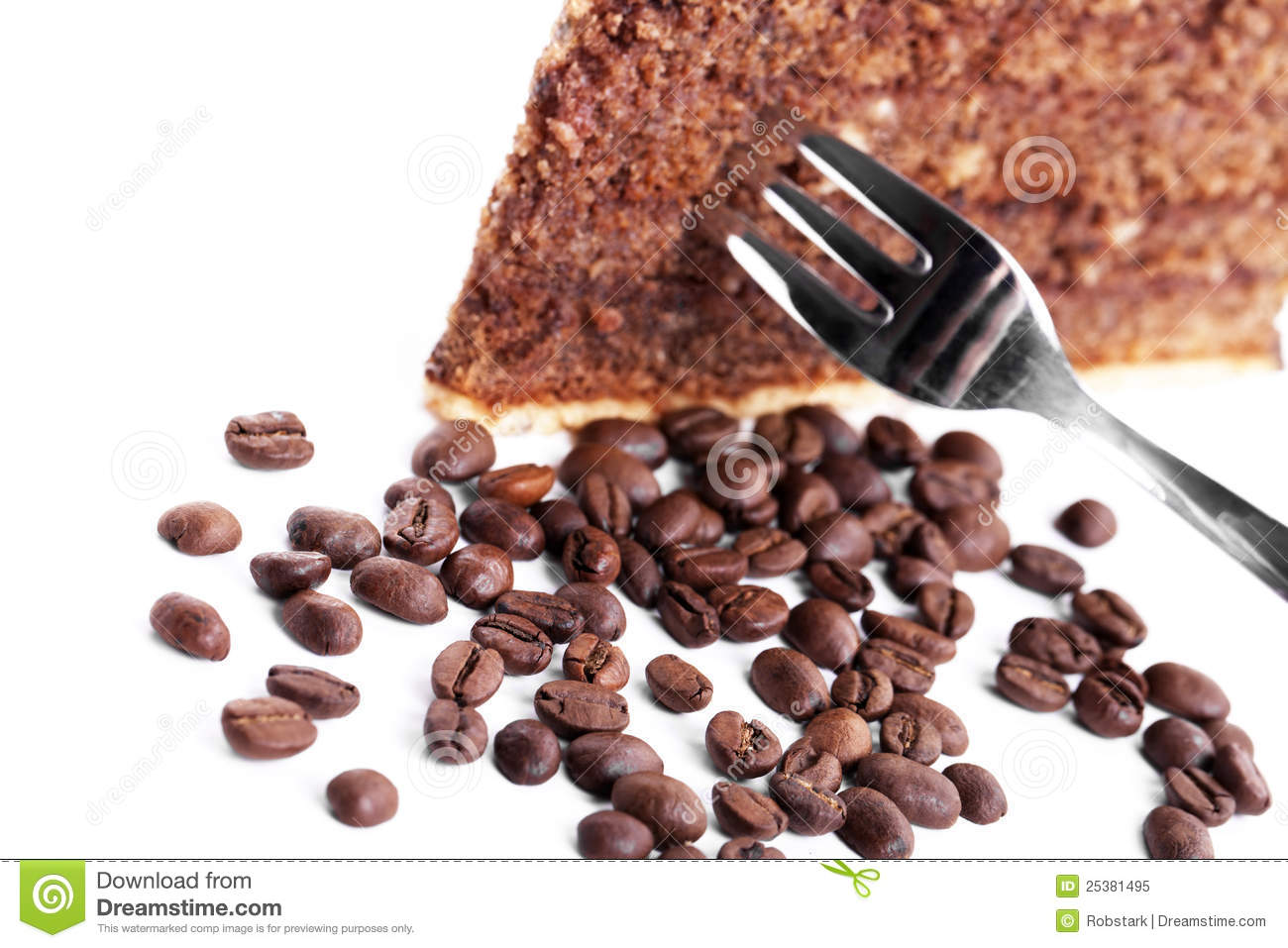 Chocolate Cake With A Fork And Coffee Beans Stock Image ...