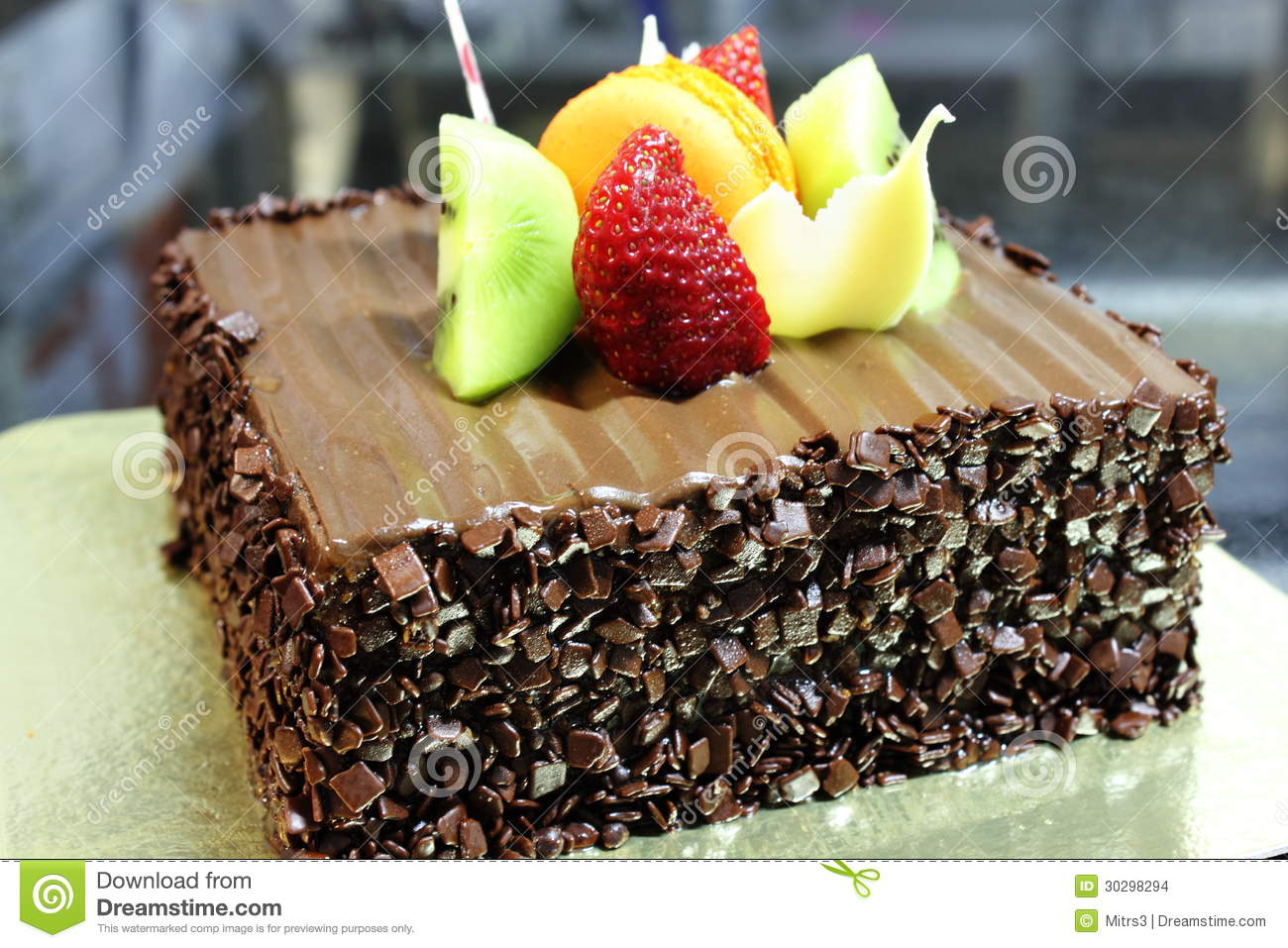 Chocolate Cake With Fresh Fruit Decoration Stock Images ...