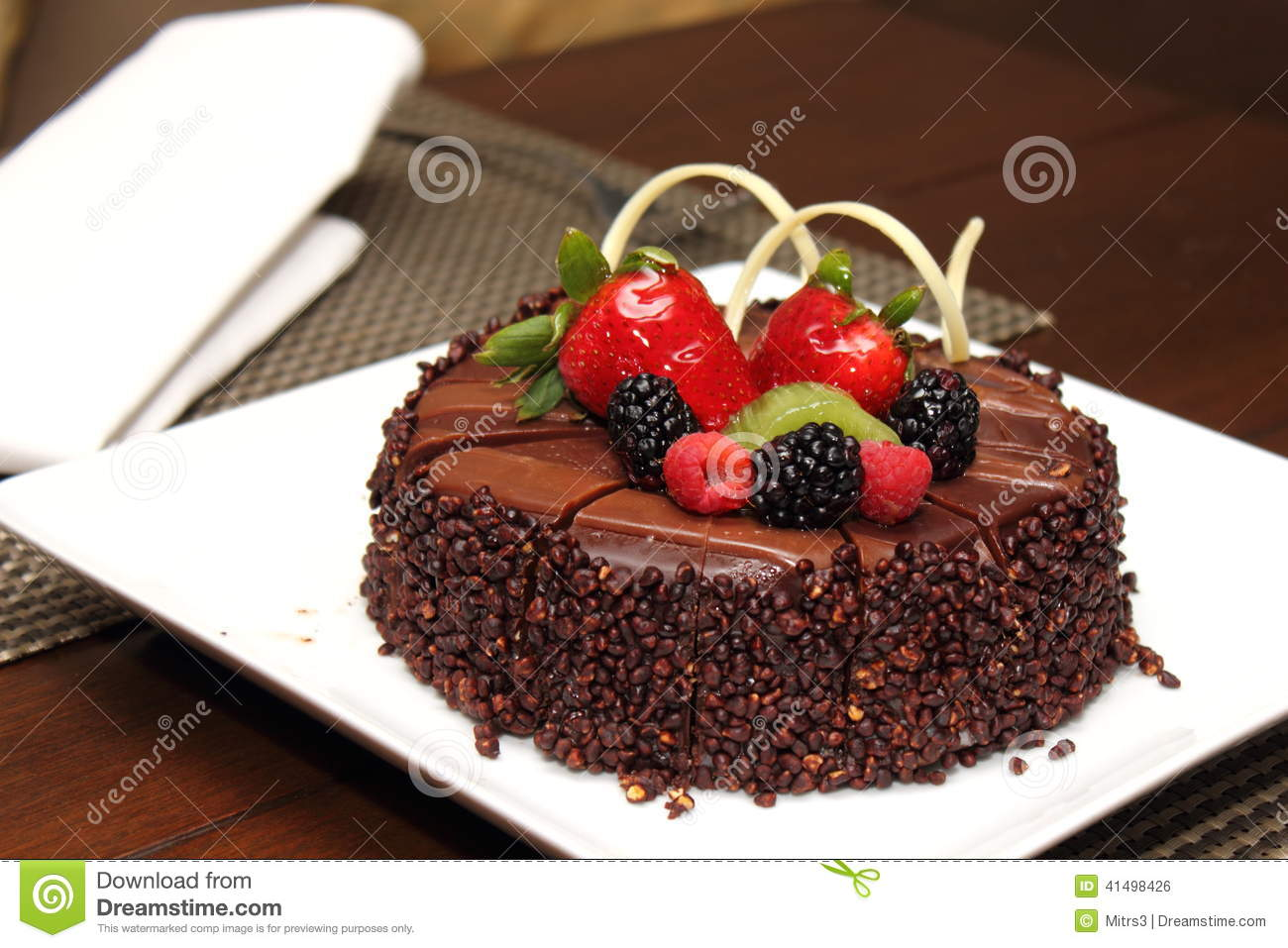 chocolate cake with fresh fruit decoration stock photo image 41498426. Black Bedroom Furniture Sets. Home Design Ideas