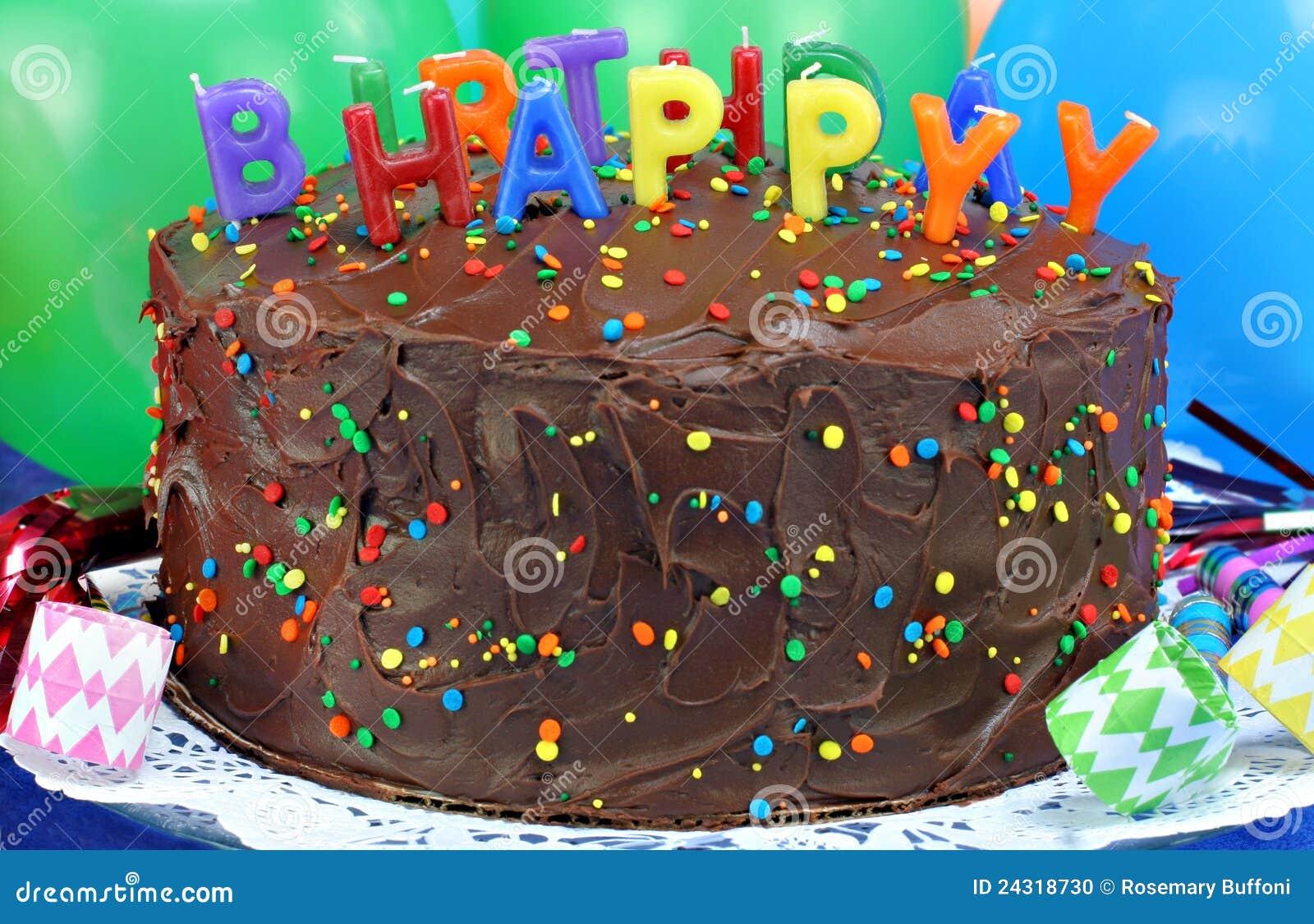 Chocolate Cake Happy Birthday Candles Stock Photo Image Of