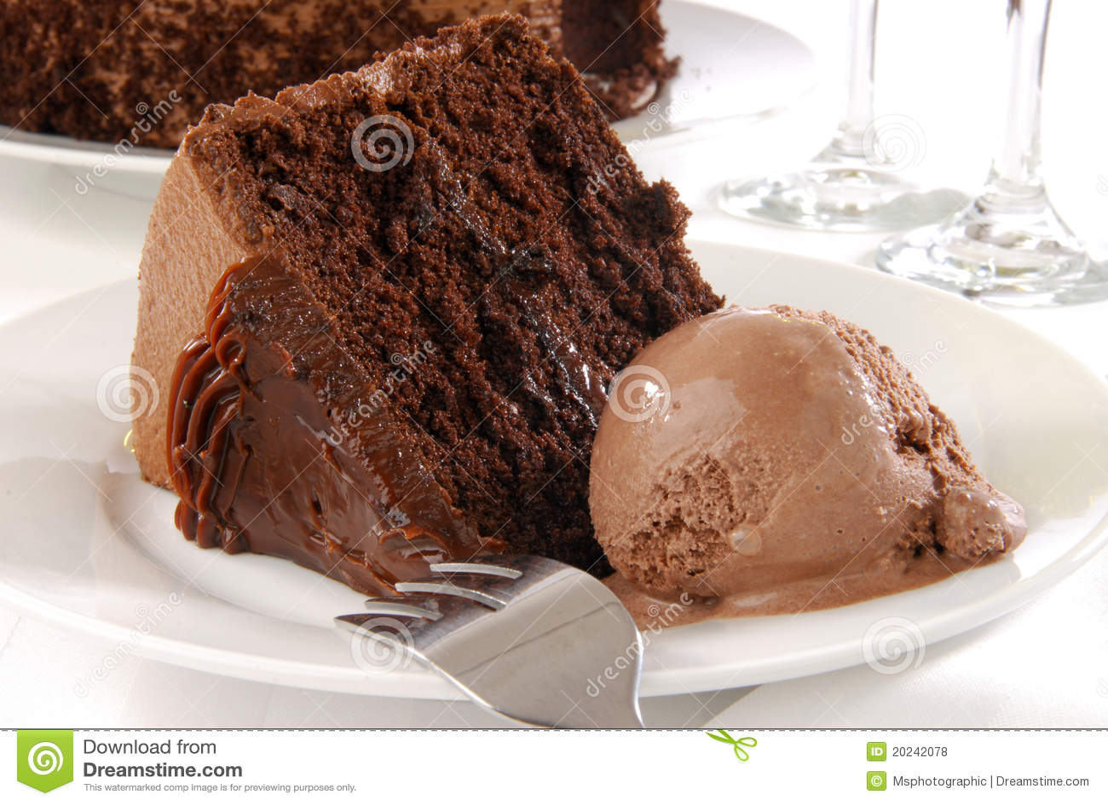 Chocolate Cake And Ice Cream Royalty Free Stock Photos ...