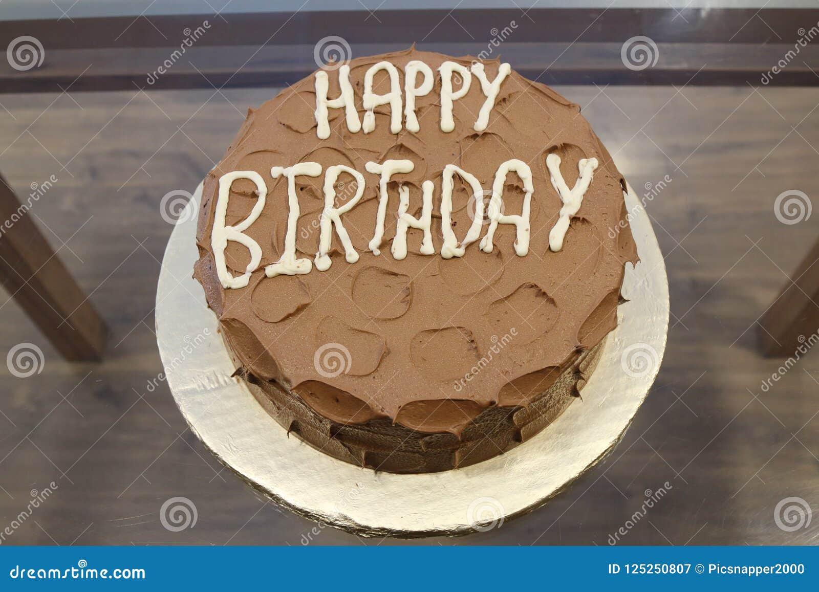 Awe Inspiring Chocolate Cake In Medium Brown Happy Birthday Text In White Stock Personalised Birthday Cards Beptaeletsinfo
