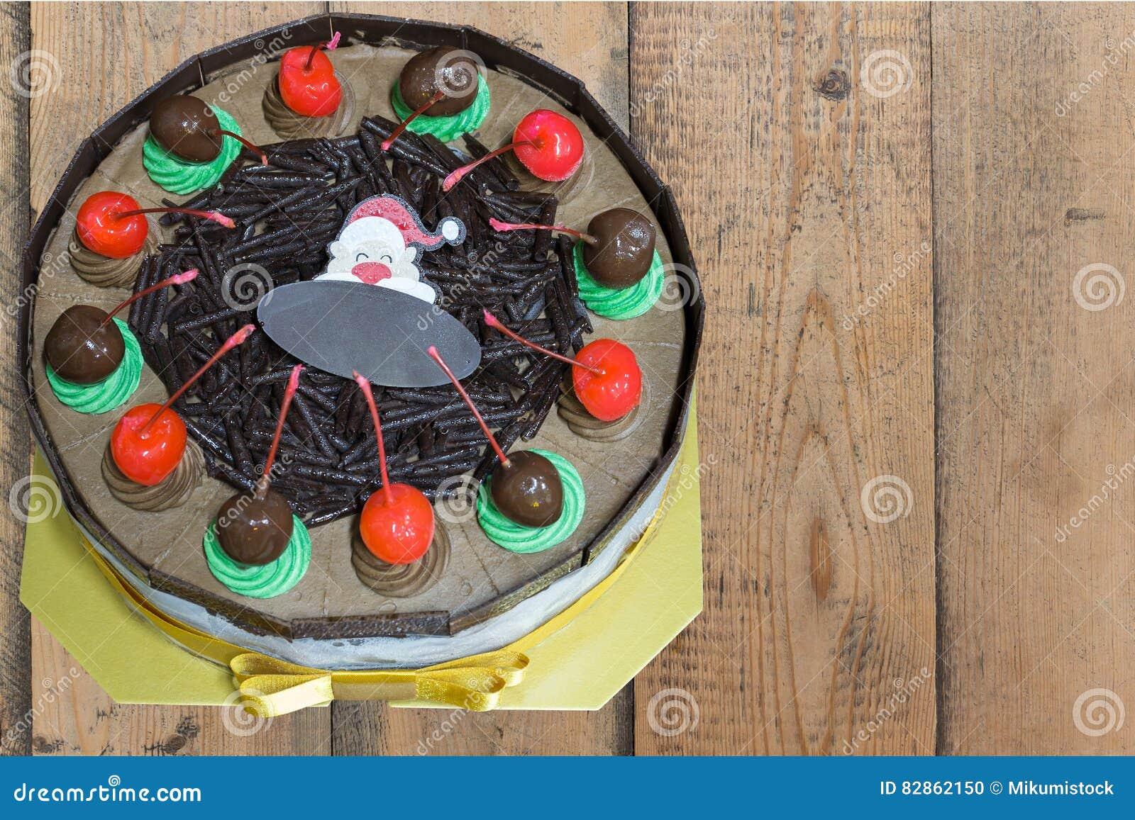 Chocolate Cake With Merry Christmas Xmas Style Stock Photo Image