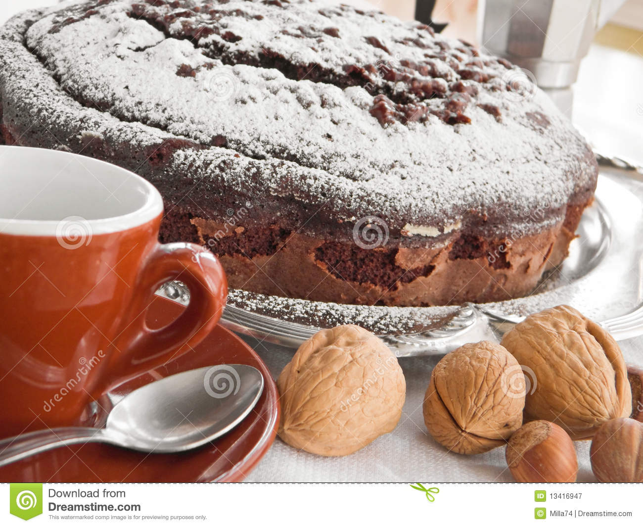Chocolate Cake With Nuts. Royalty Free Stock Photography - Image ...