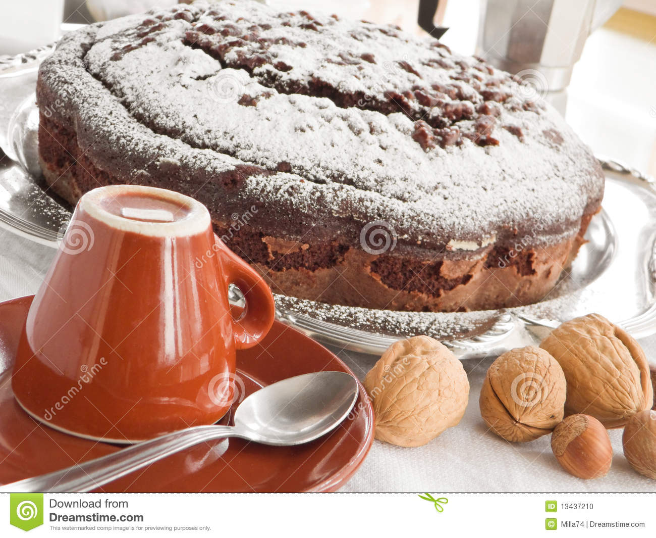 Chocolate Cake With Nuts. Stock Photo - Image: 13437210