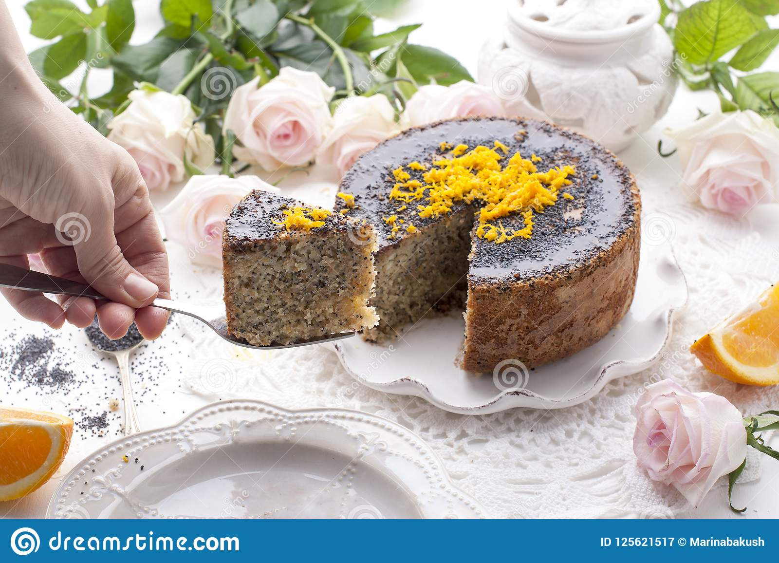Chocolate Cake With Orange And Icing  On A White Background