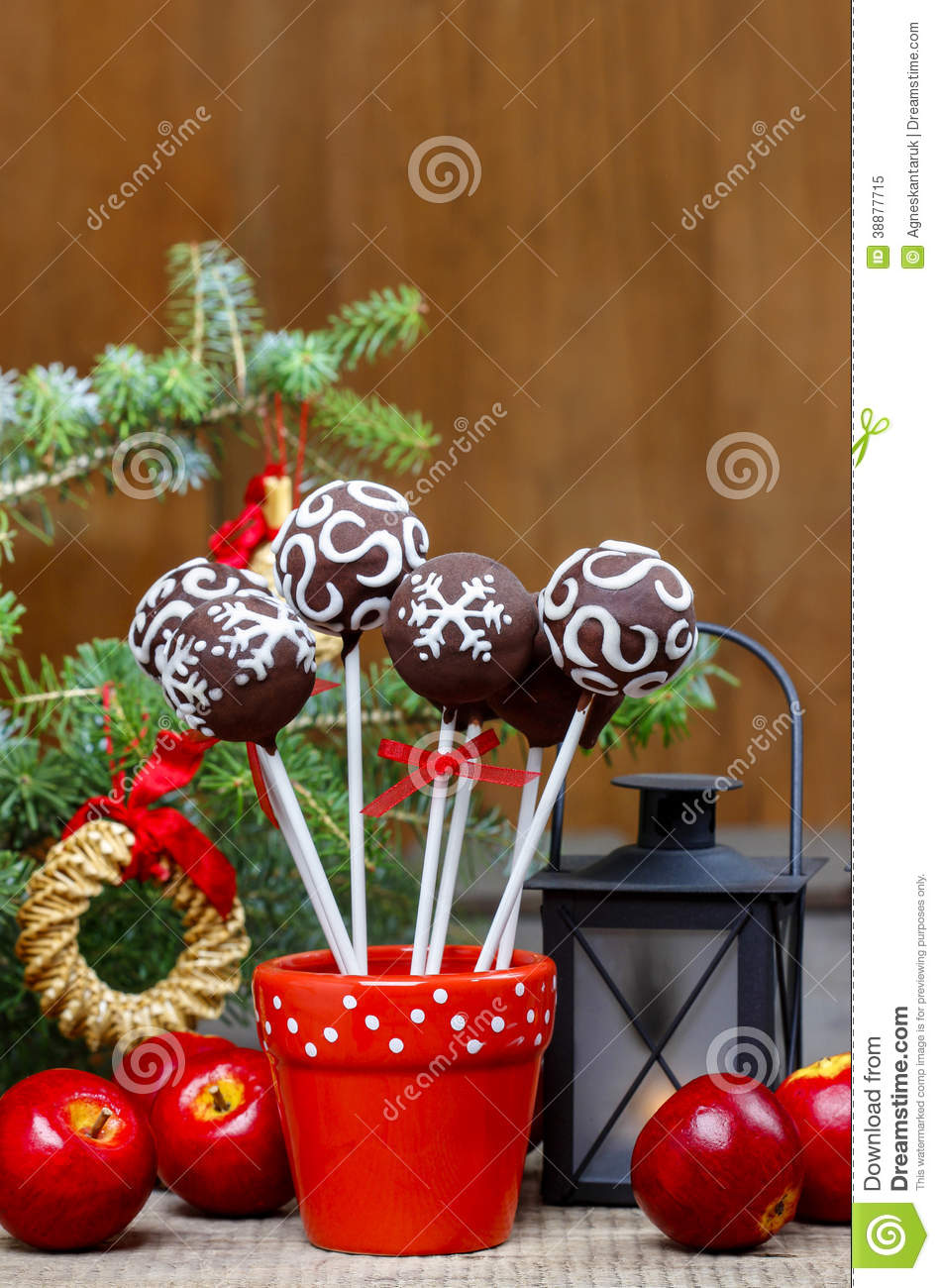 Chocolate Balls Cake Decoration : Chocolate Cake Pops In Christmas Setting Stock Image ...