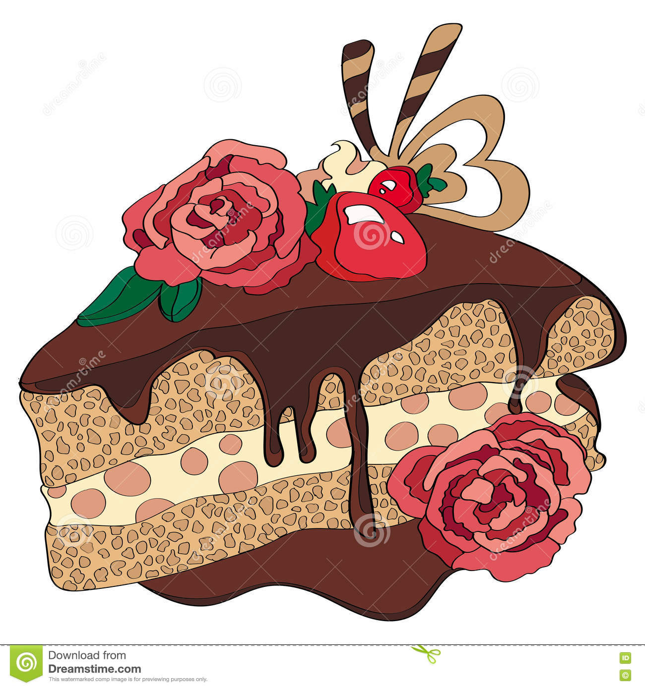 Chocolate Cake And Roses Of Love Stock Illustration Illustration