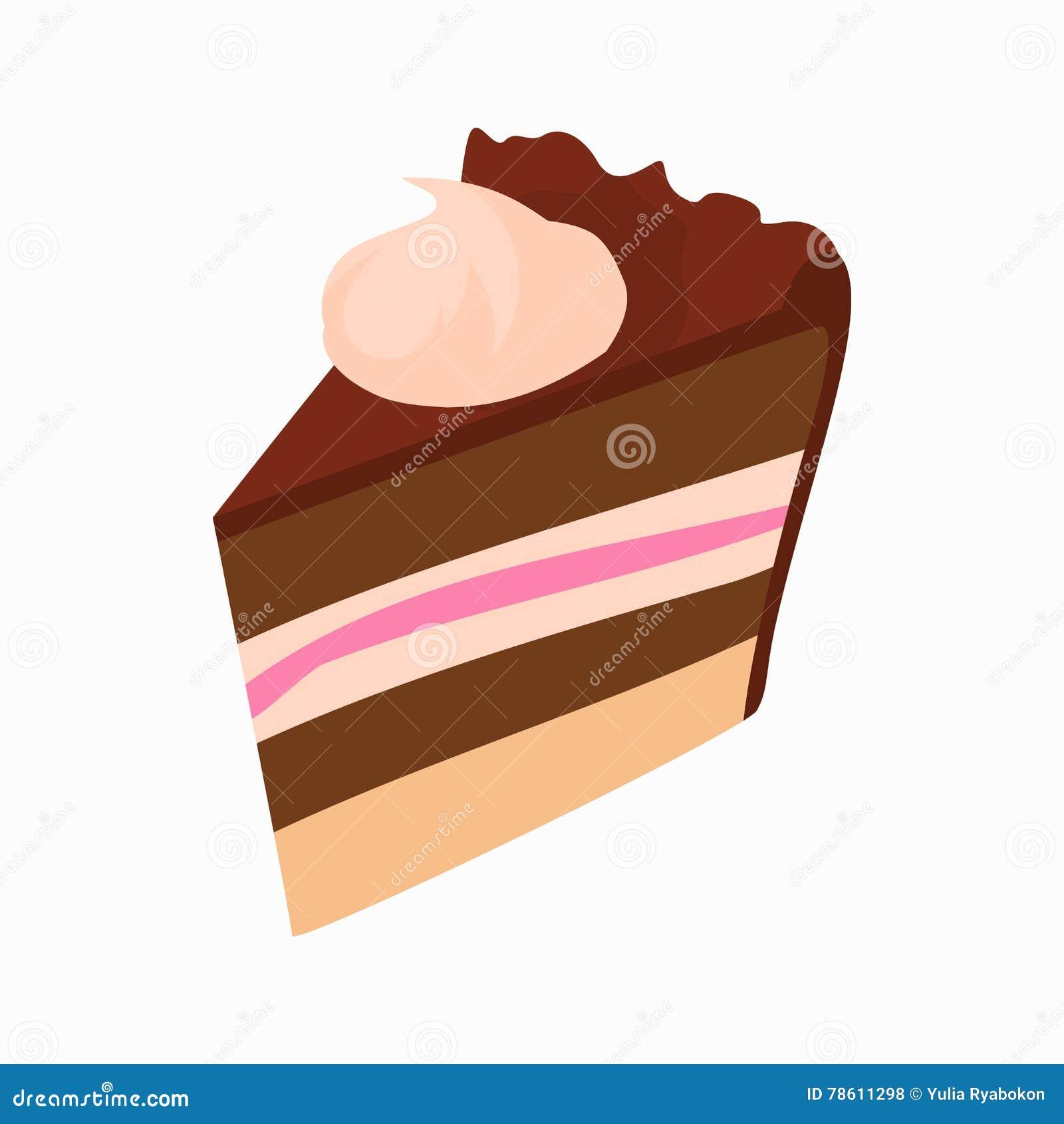 Chocolate Cake Slice Icon, Cartoon Style Stock Vector ...