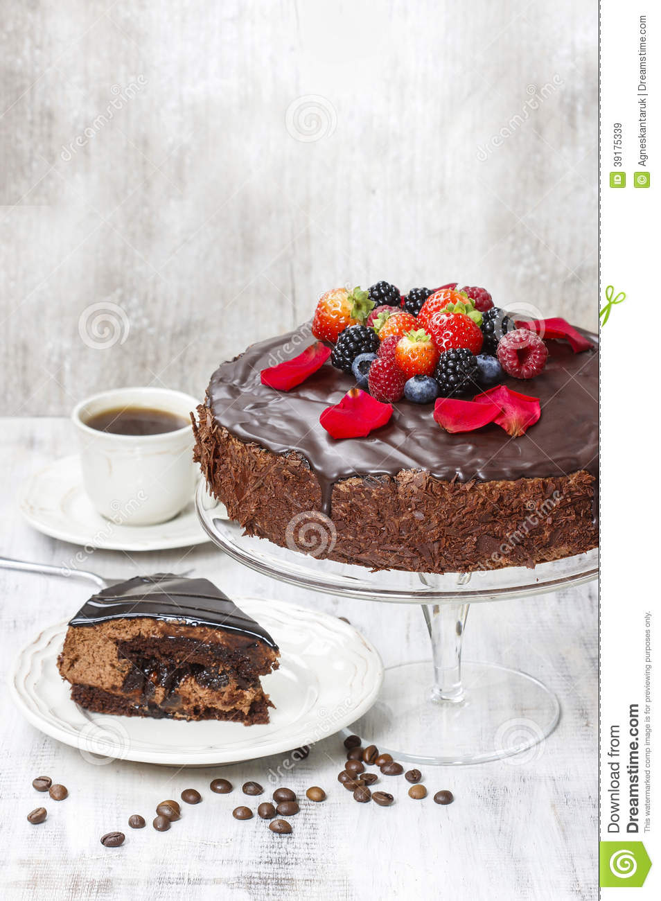 Chocolate Cake With Strawberries. Birthday Party Stock Photo - Image ...