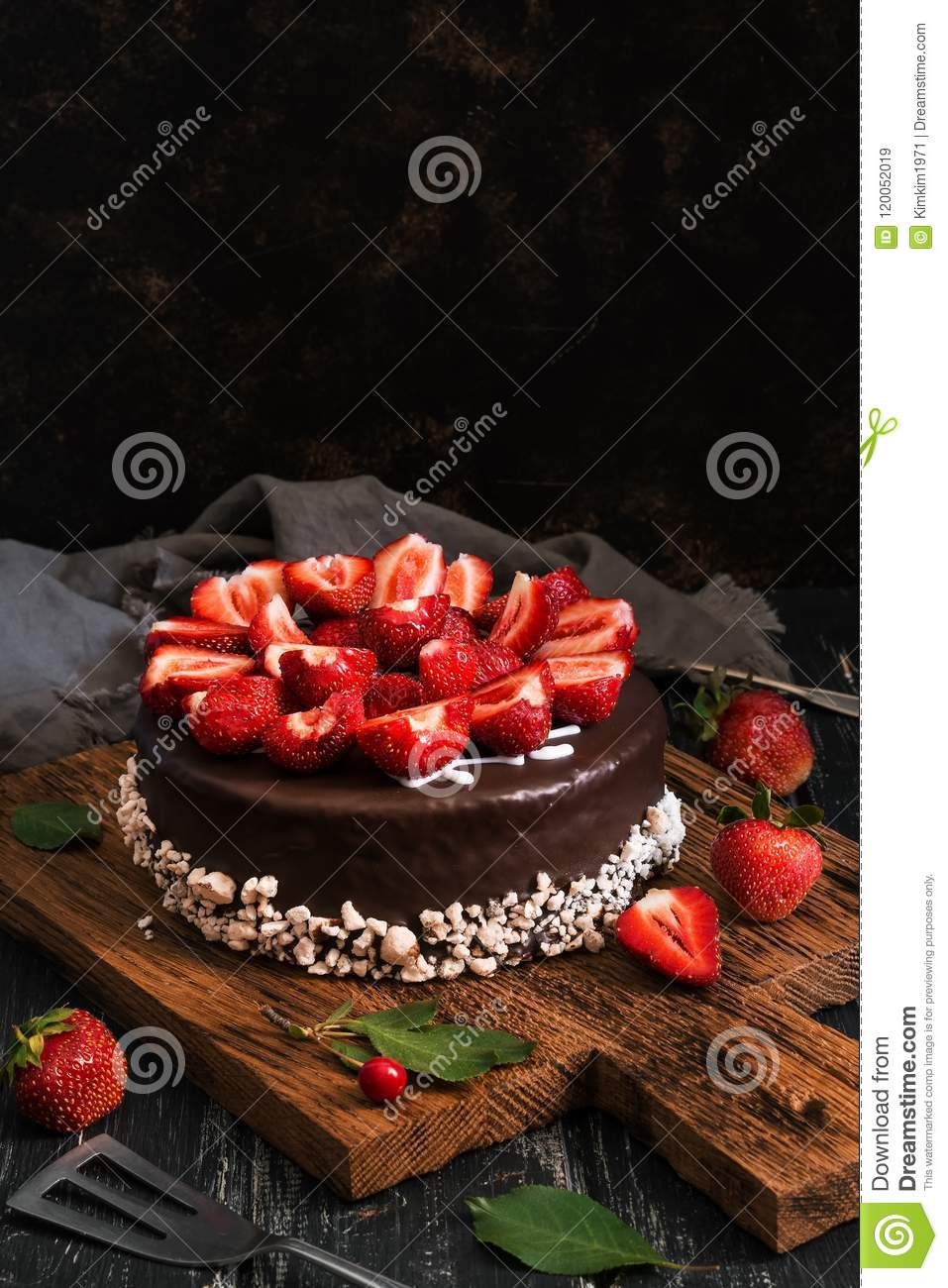 Chocolate Cake With Strawberries Dark Food Photography Rustic Style Selective Focus