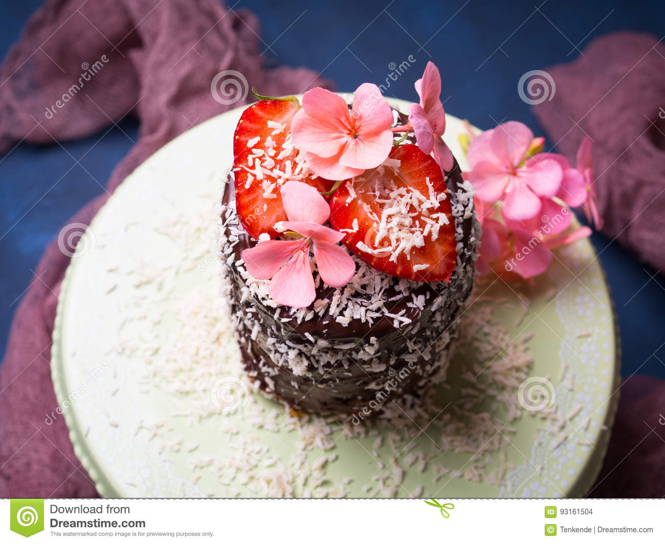 Chocolate Cake With Strawberry Flower Decor Stock Photo Image Of