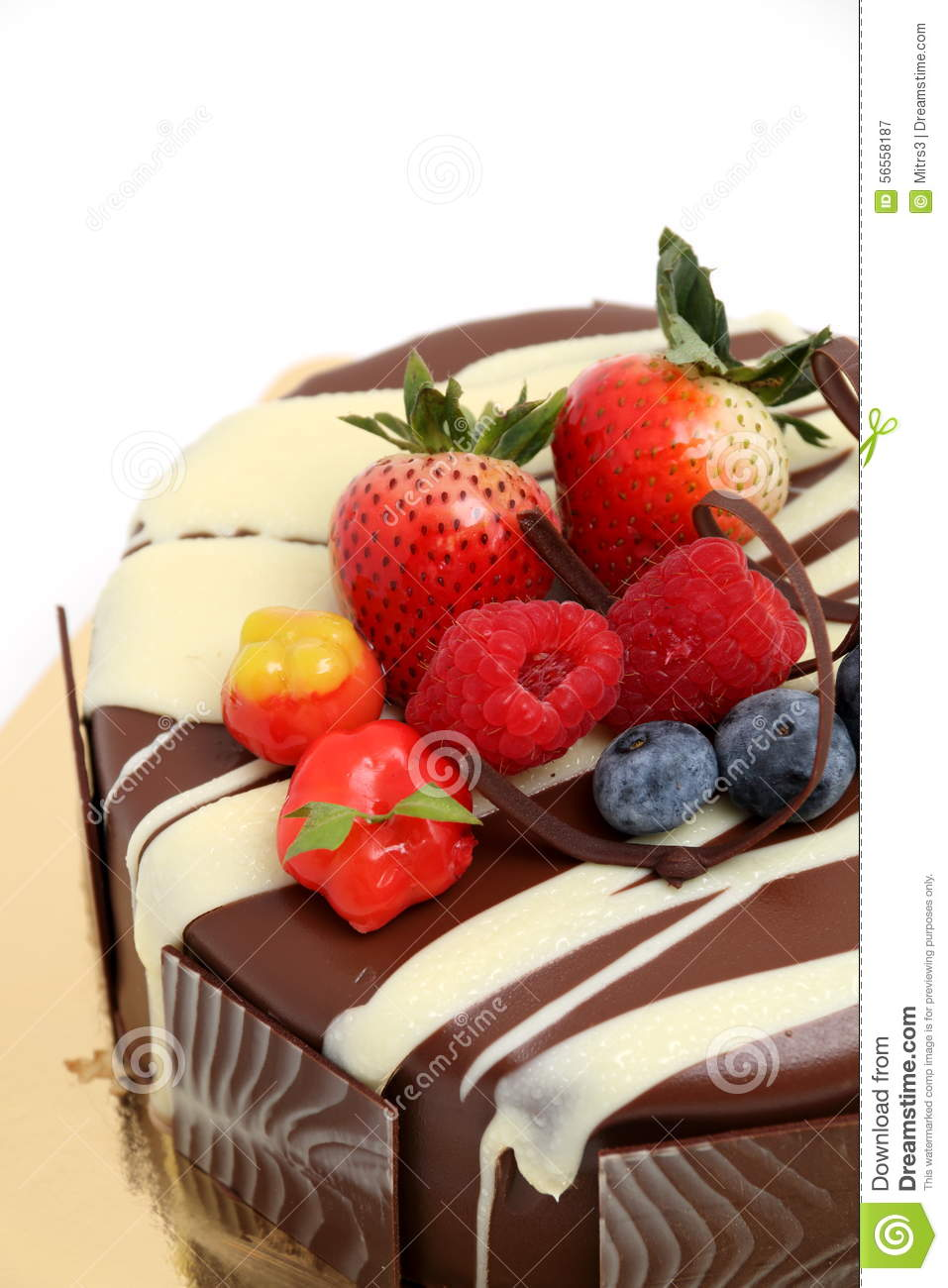 Chocolate Cake With Strawberry Topping Stock Image Image Of