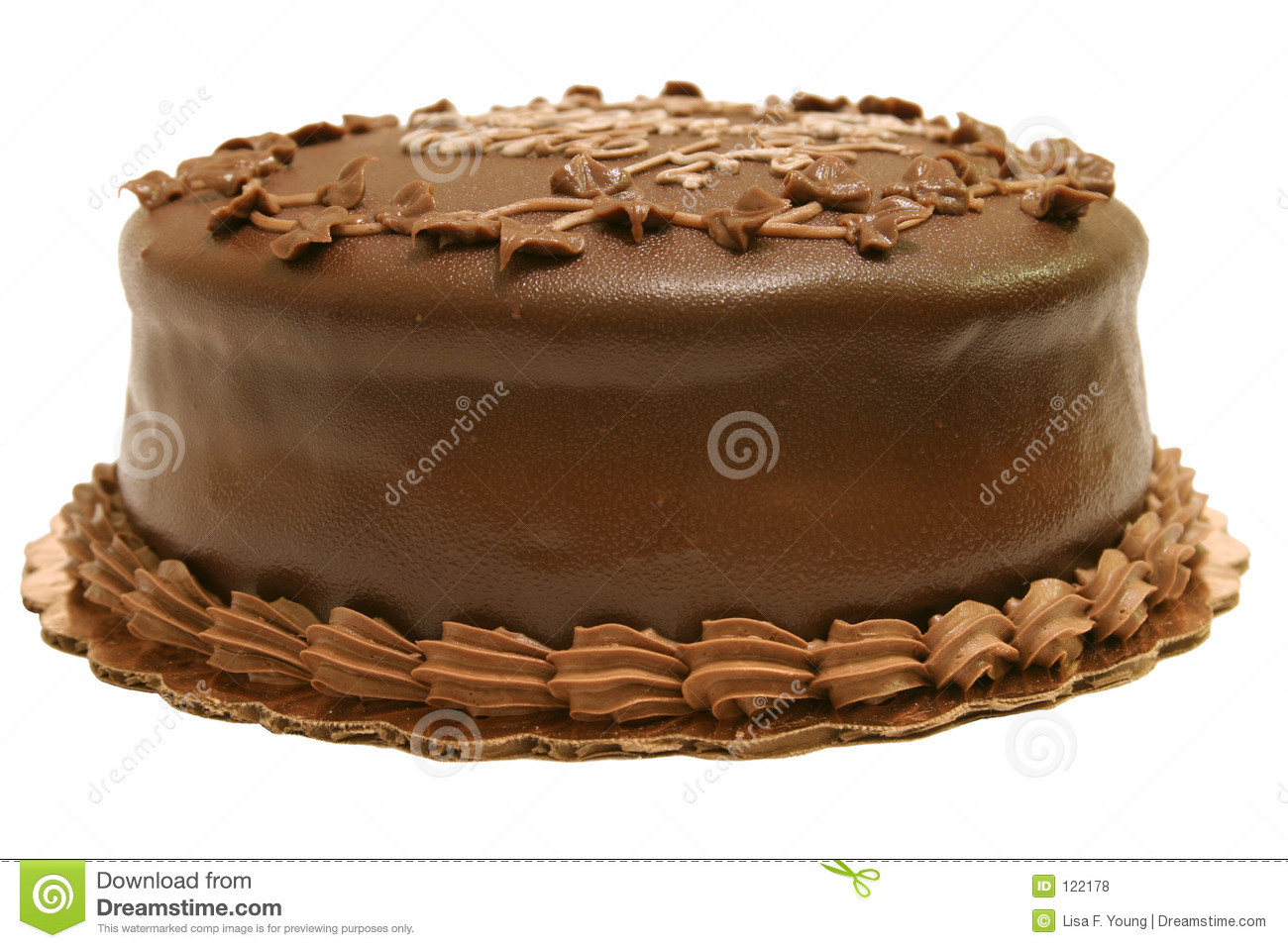 A Whole Chocolate Cake Isolated Against White Background