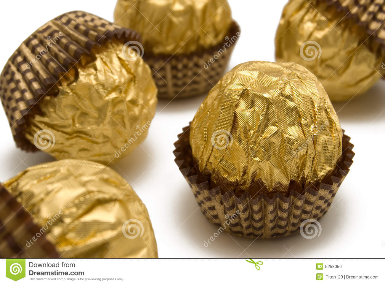 Chocolate Candies Are In The Gold Wrapping Stock Photo - Image ...