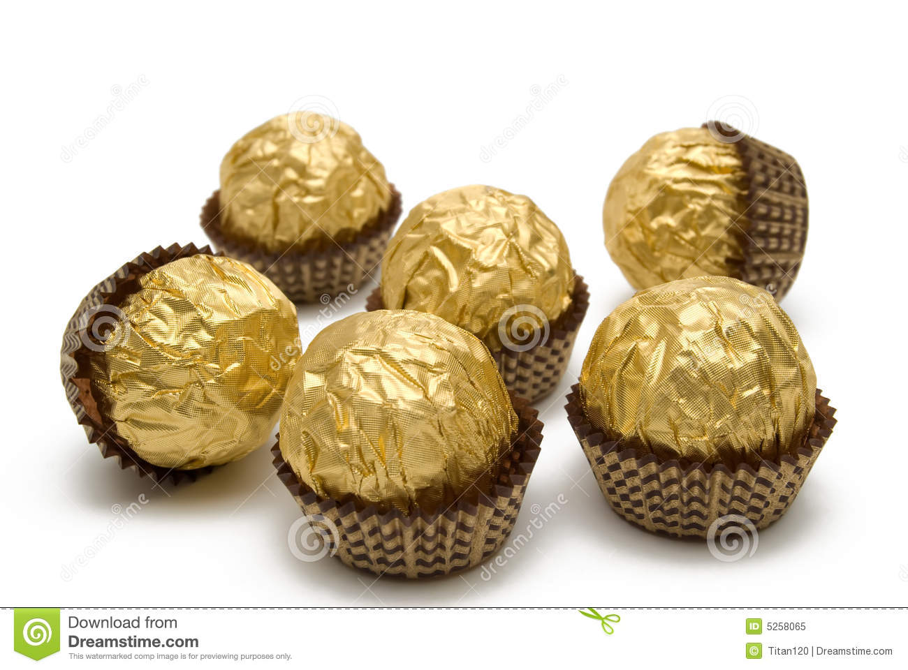 Chocolate Candies Are In The Gold Wrapping Royalty Free Stock ...