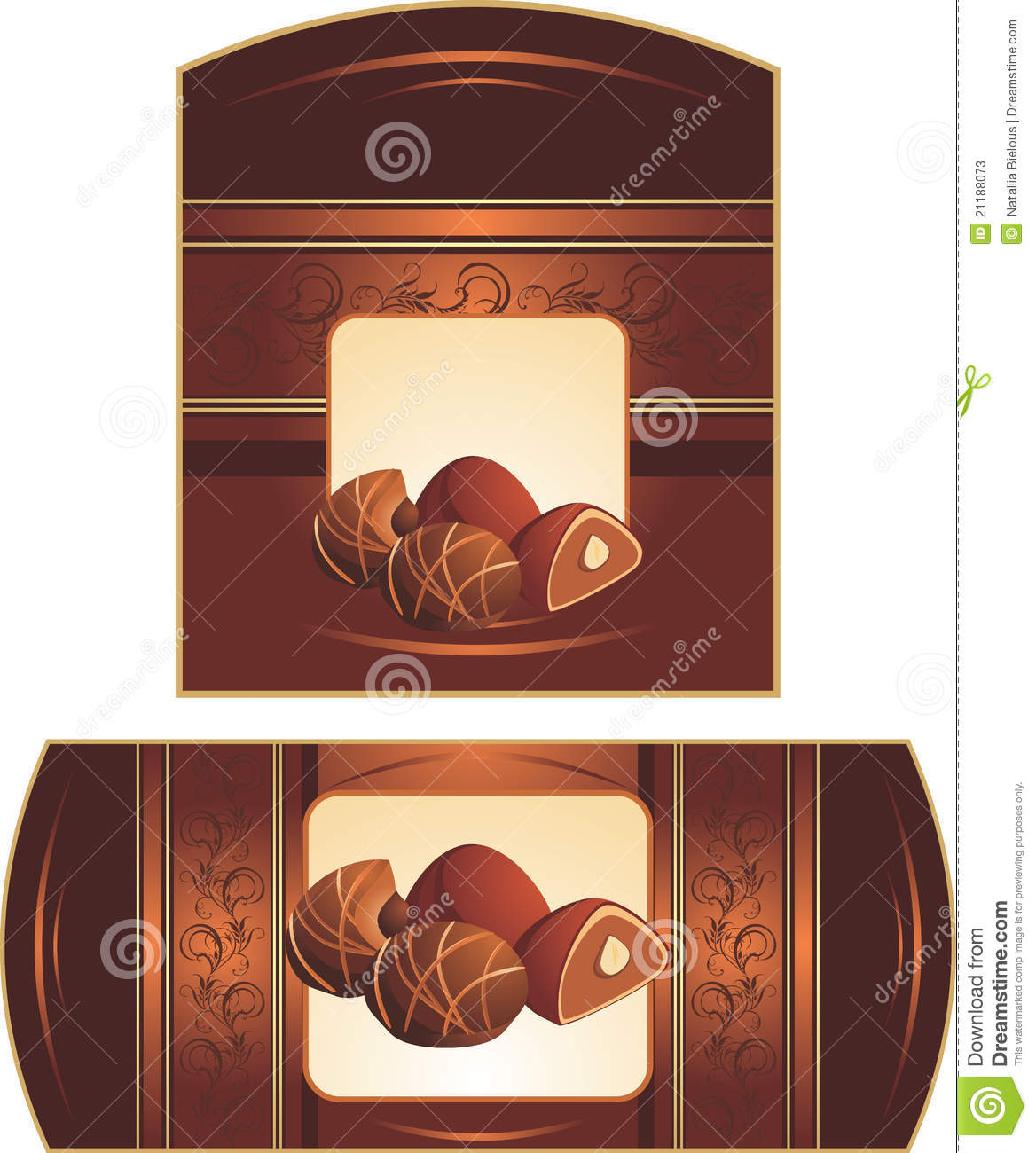 Chocolate candies with nuts. Wrappings