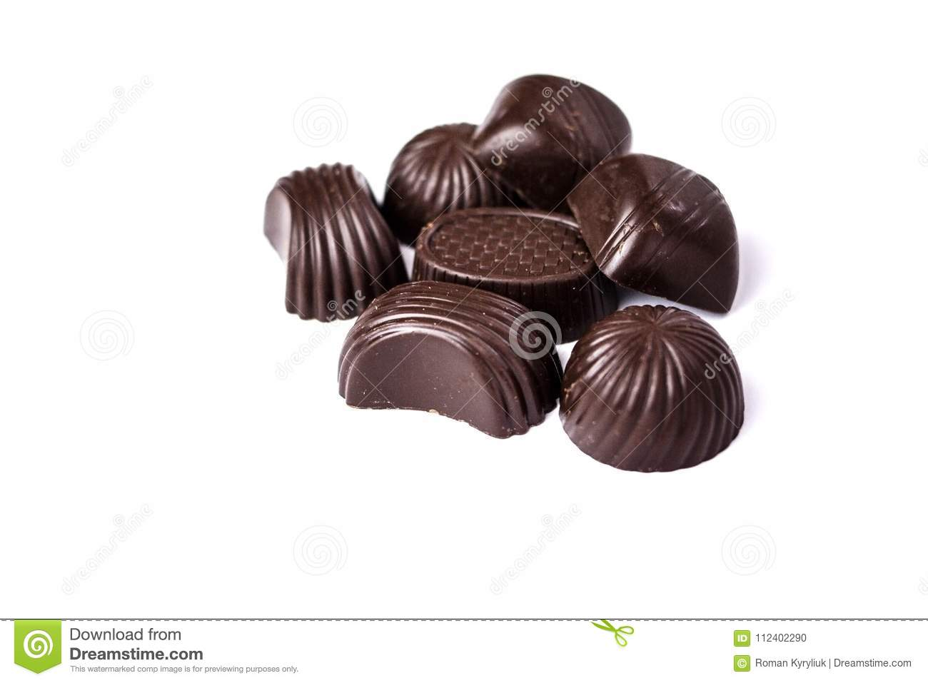 Chocolate candies on a white background