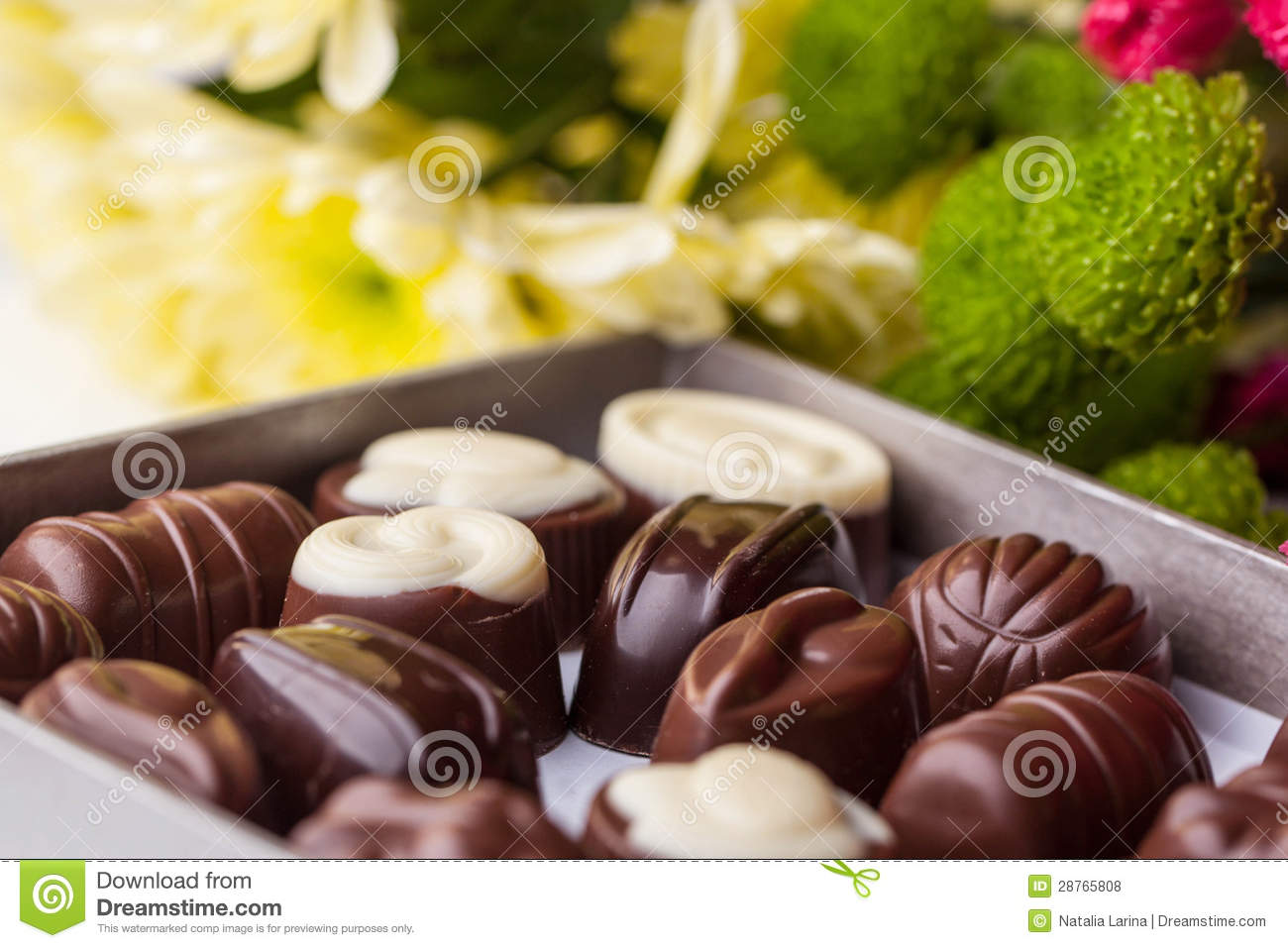 Chocolate Candy And Flowers Royalty Free Stock s Image