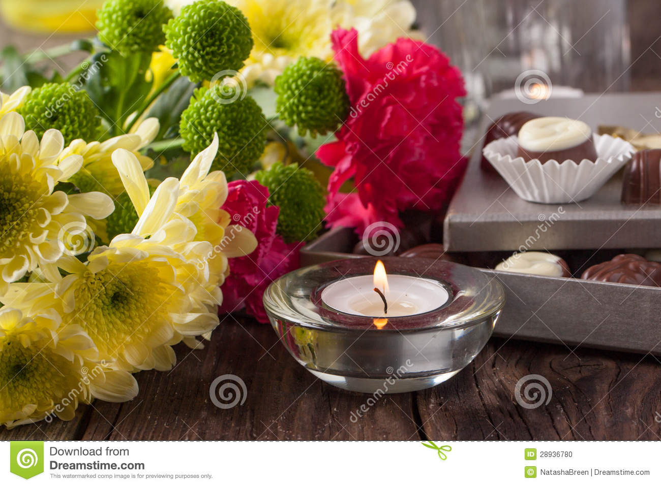 Chocolate Candy And Flowers Stock Image