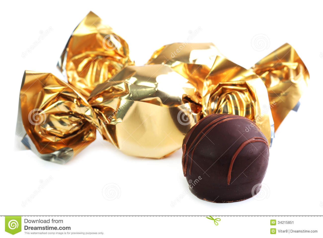 Chocolate Sweets With Golden Wrapper Royalty Free Stock Image ...