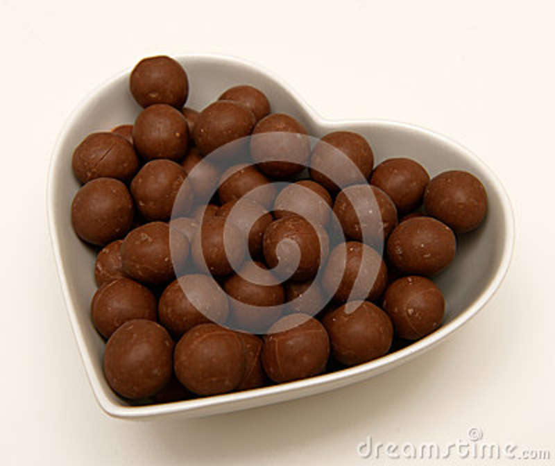 Chocolate Candy in Heart Shaped Bowl